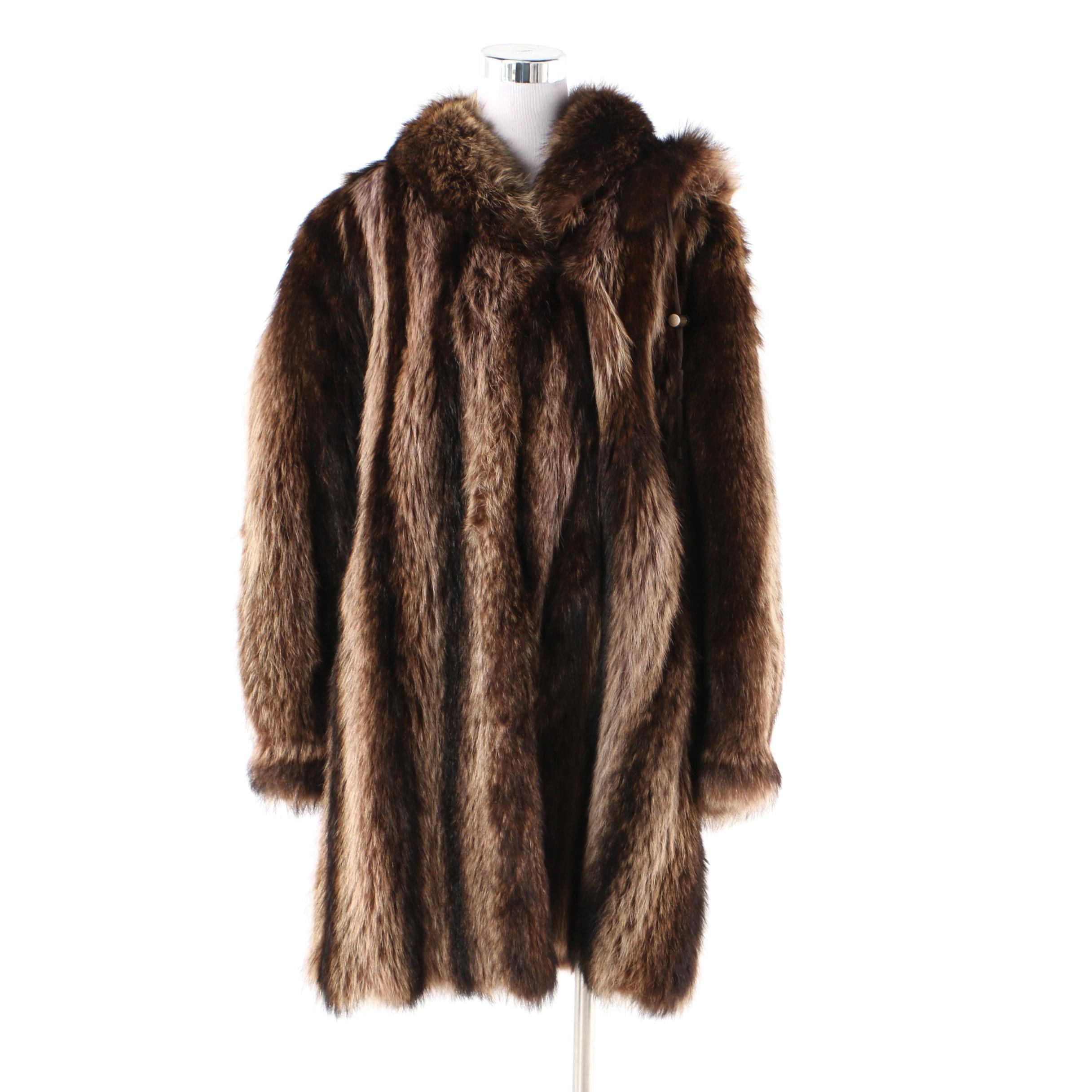 Women's Mysels Furs Hooded Raccoon Fur Coat