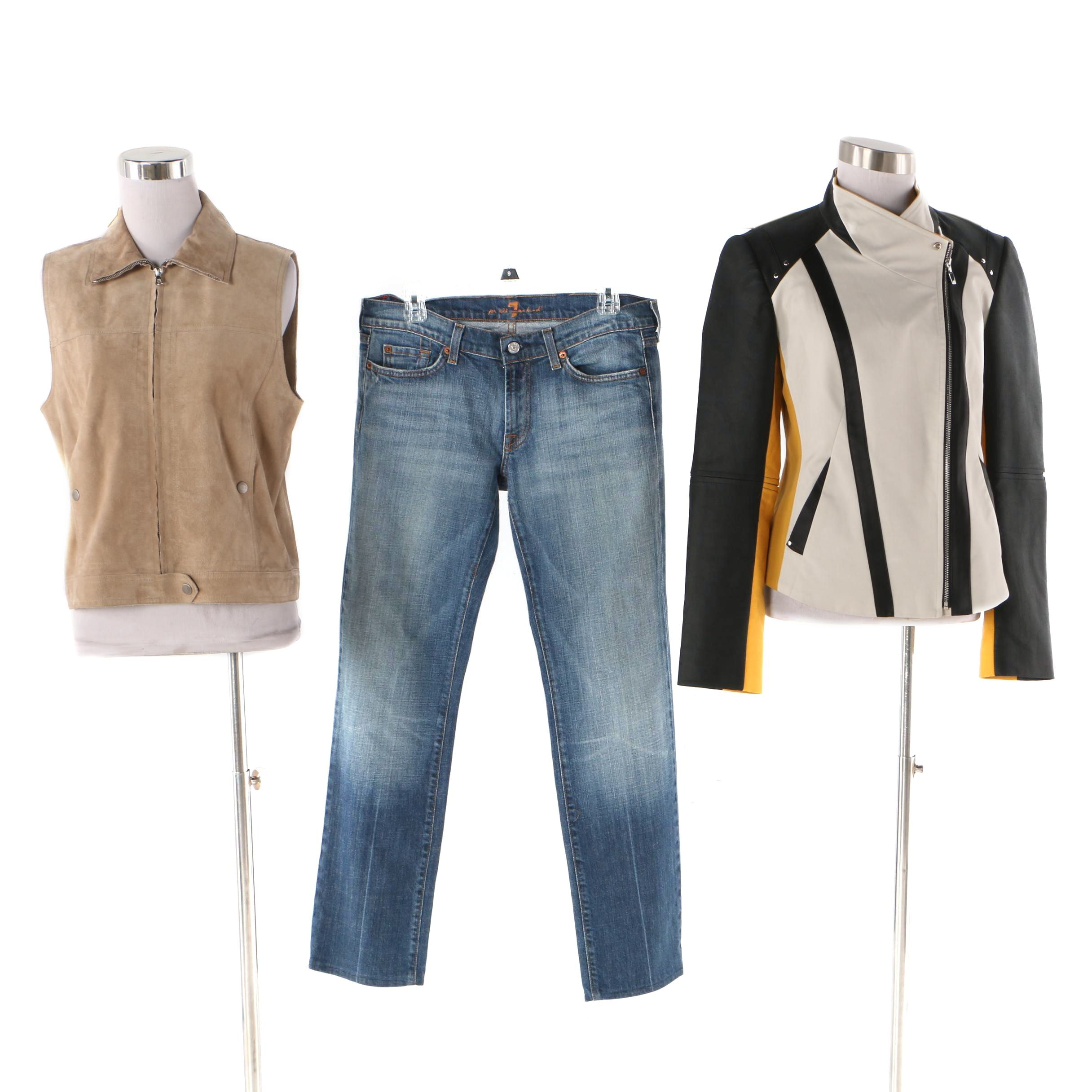 Minicucci x Marcanio Jacket with Theory Vest and 7 For All Mankind Jeans