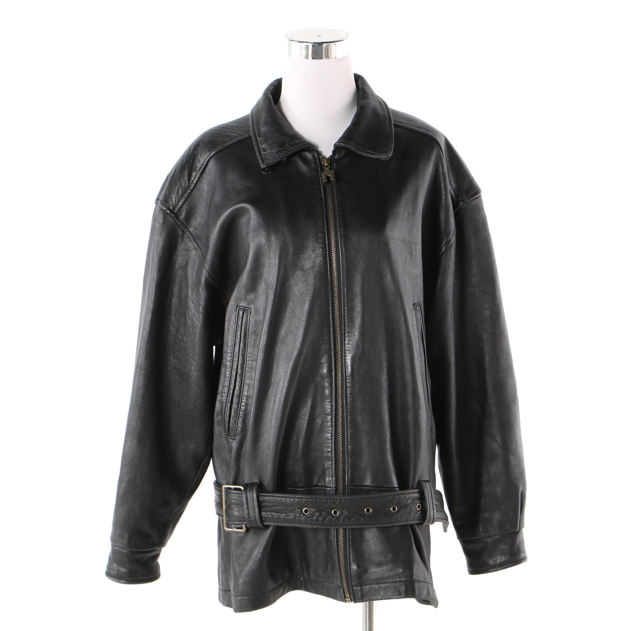 Women's 1980s Vintage Express Avenue De L'Opera Black Leather Jacket