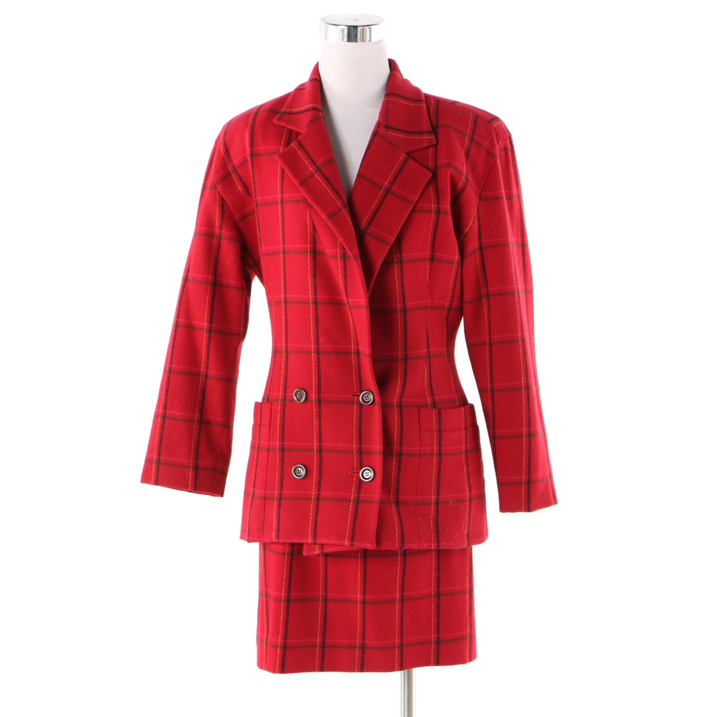 Emanuel by Emanuel Ungaro Red Plaid Wool Skirt Suit