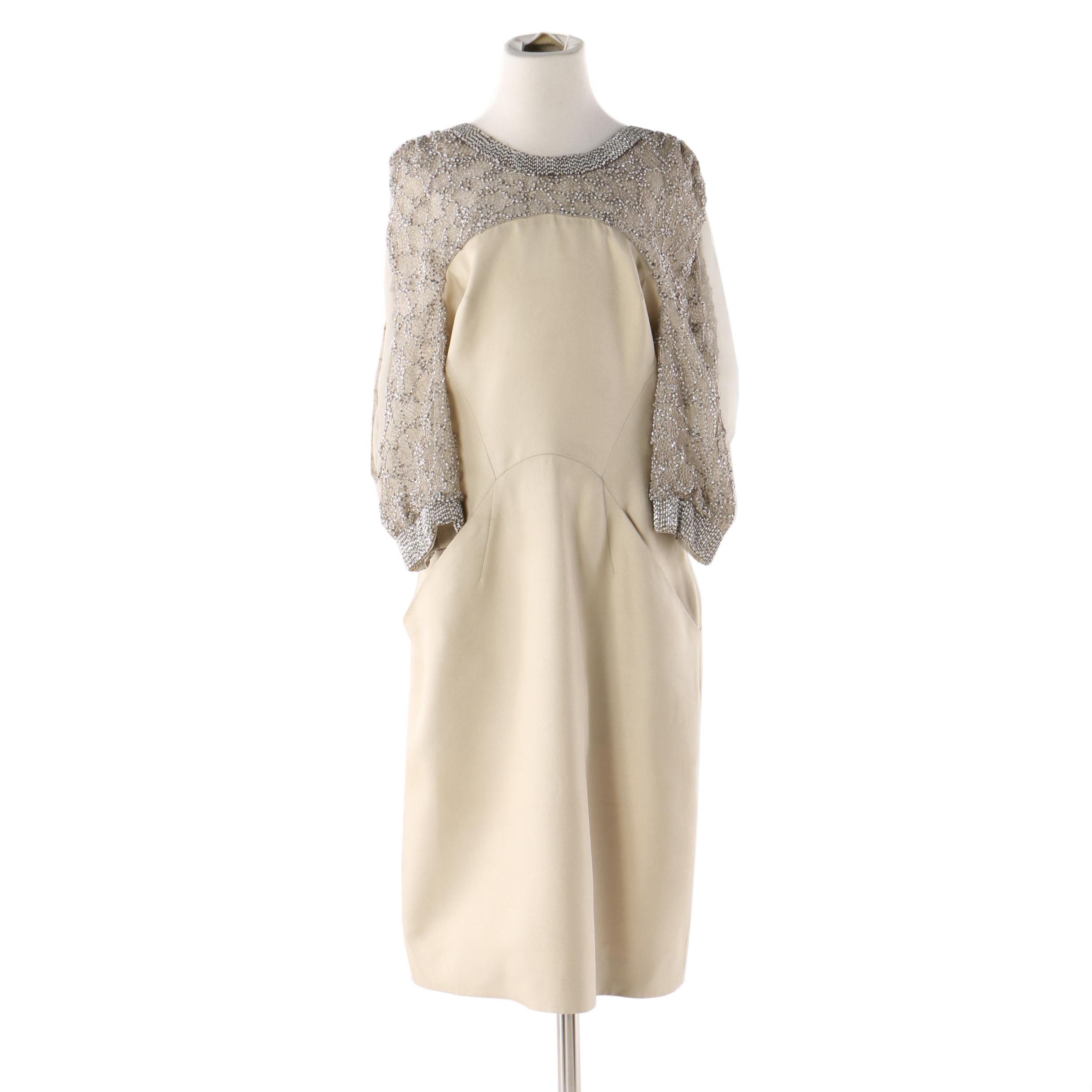 Embellished Yoke Cold Shoulder Dress