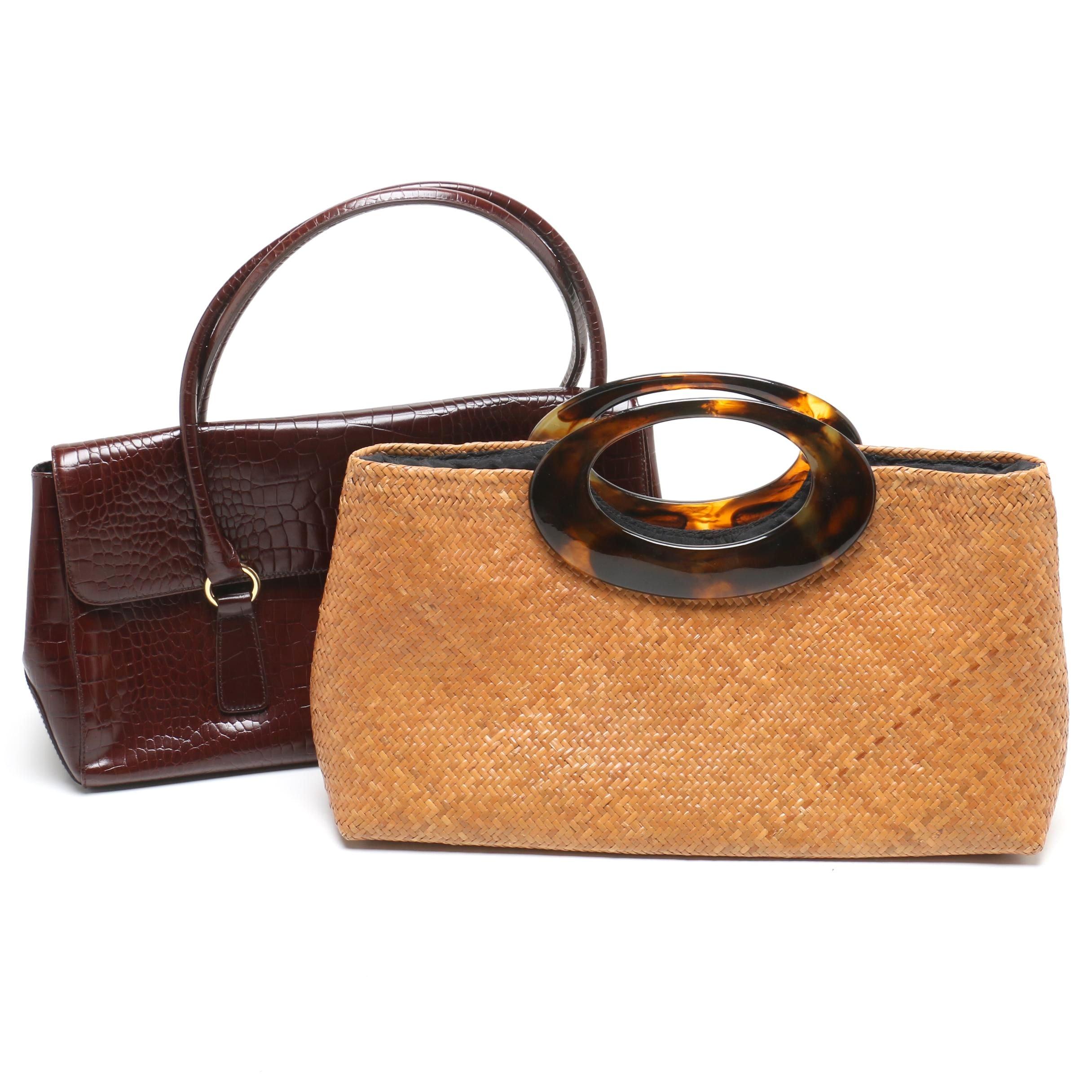 Asiaphile Rattan Tote with Ralph Lauren Croc Embossed Handbag