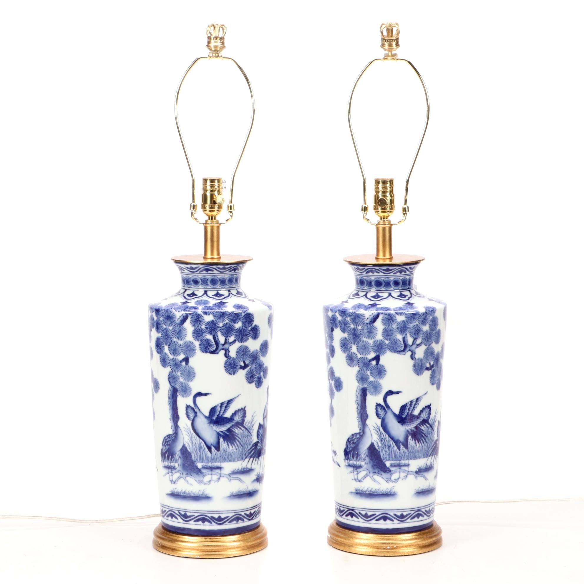 Chelsea House Blue and White Chinoiserie Table Lamps