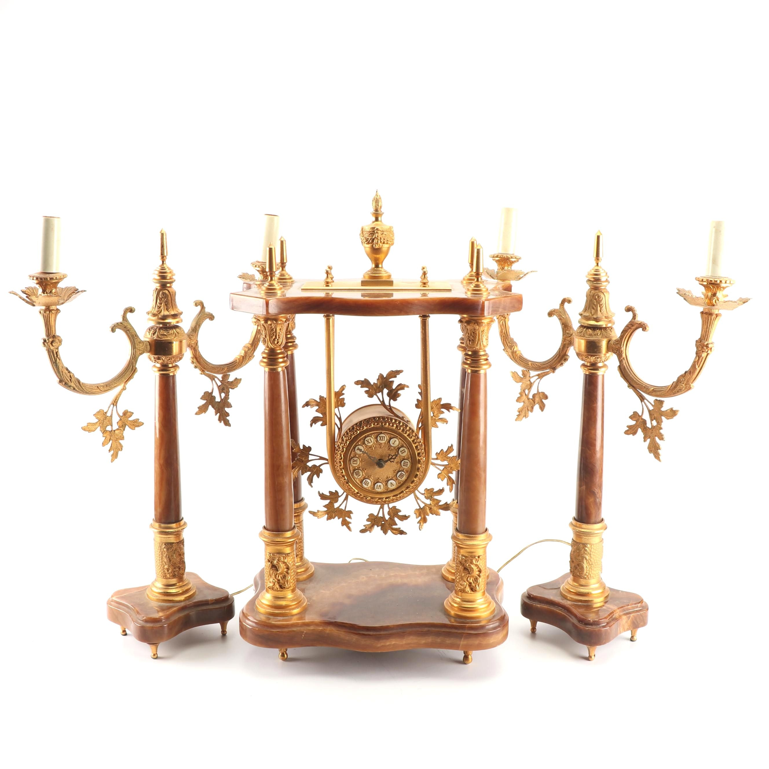 Gilt Spelter and Stone Mantle Clock With Electrified Candelabra