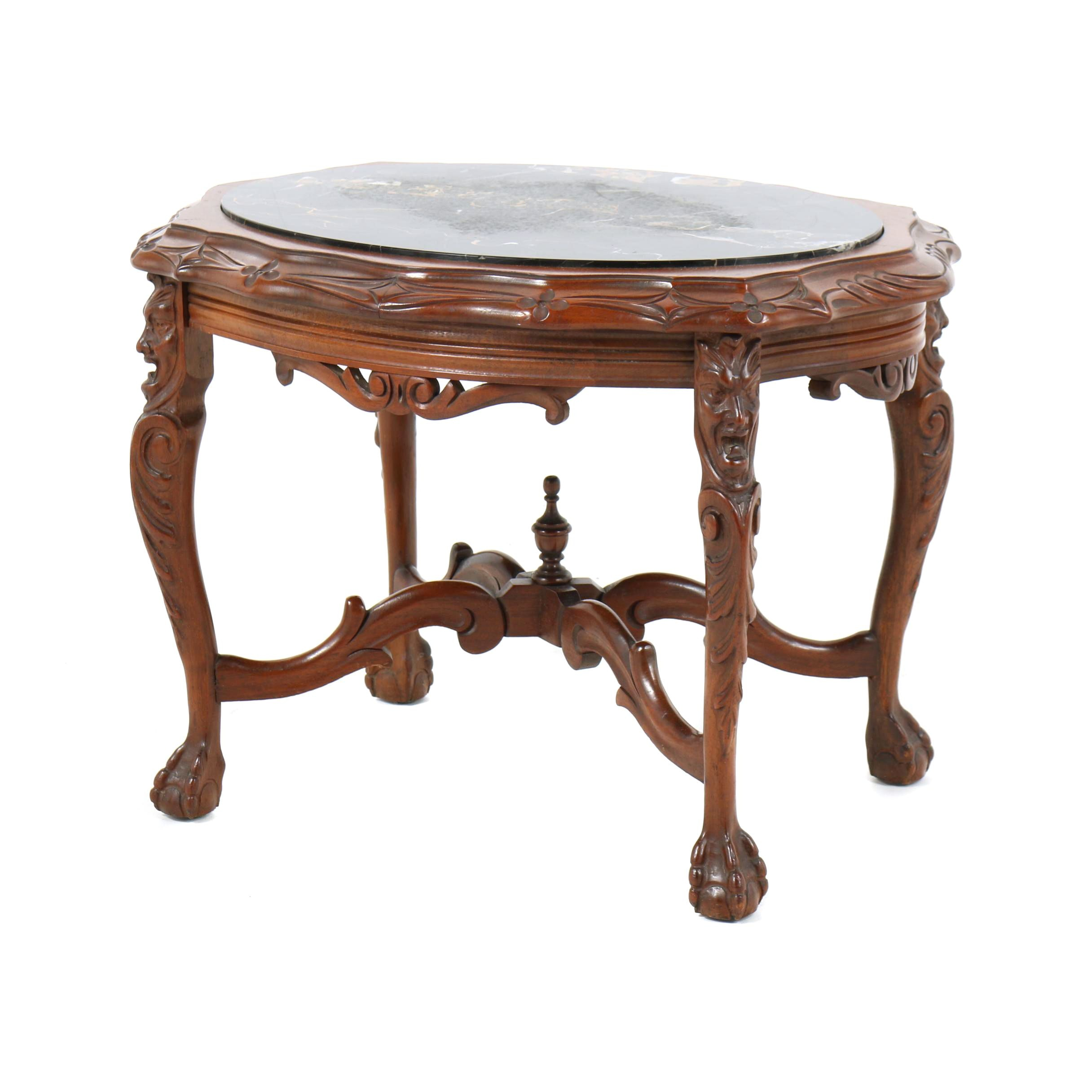 George II Style Stone Top Walnut Cocktail Table, 20th Century