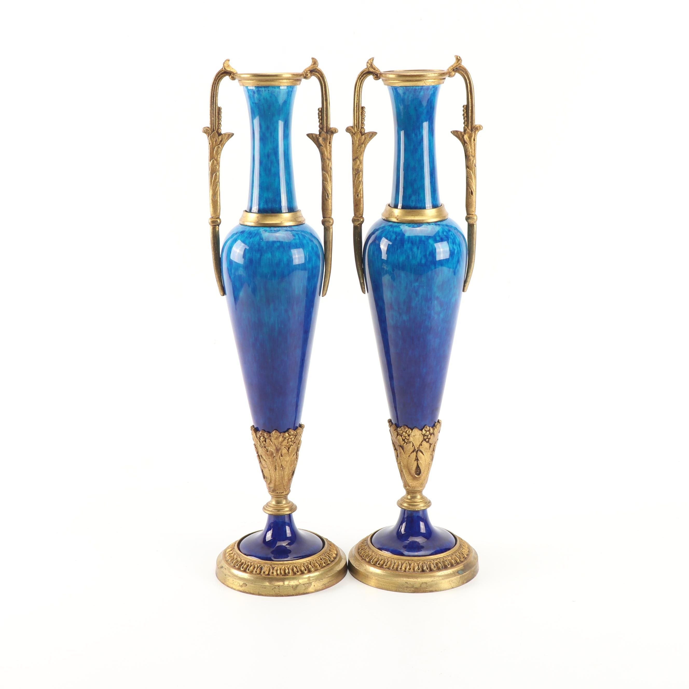 Pair of French Glazed Ceramic and Brass Mounted Mantel Urns, Early 20th Century
