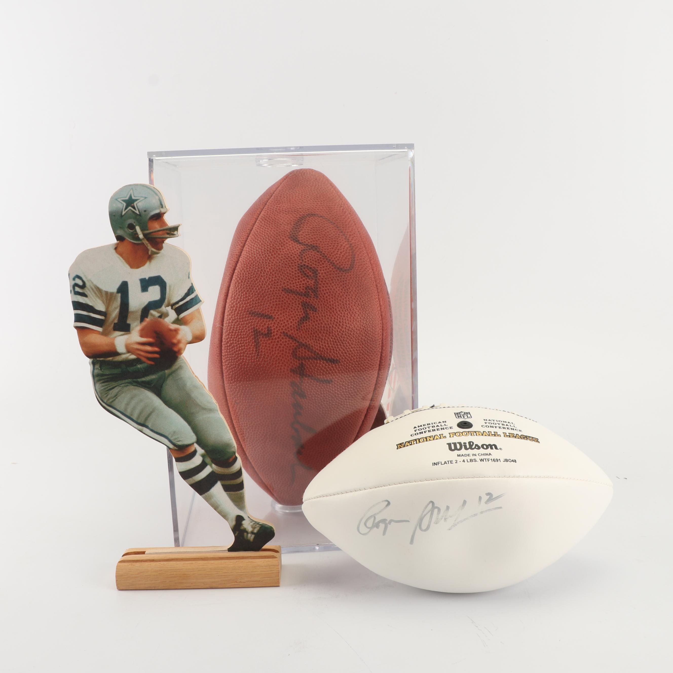 Roger Staubach Autographed Footballs and Wood Cutout