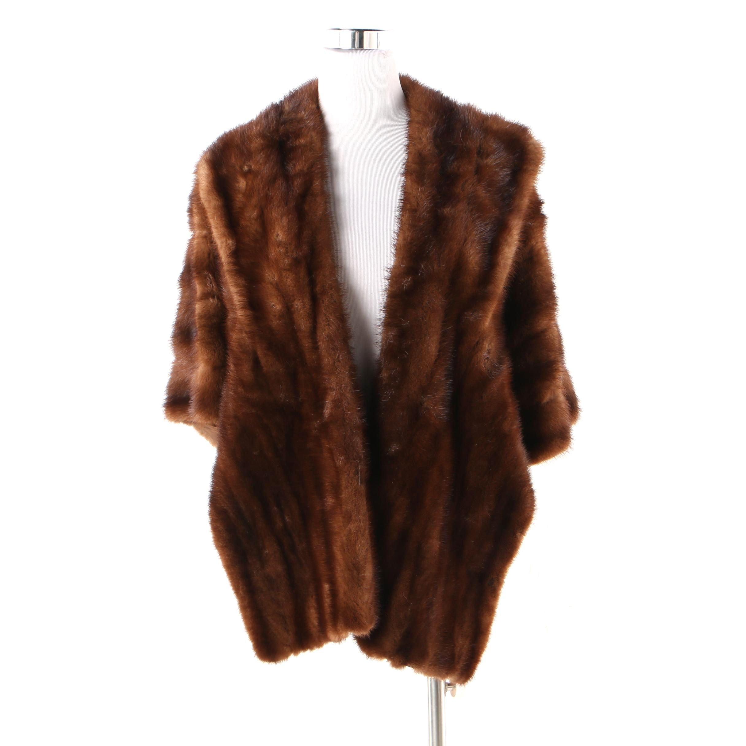 Women's Vintage Brown Mink Fur Stole