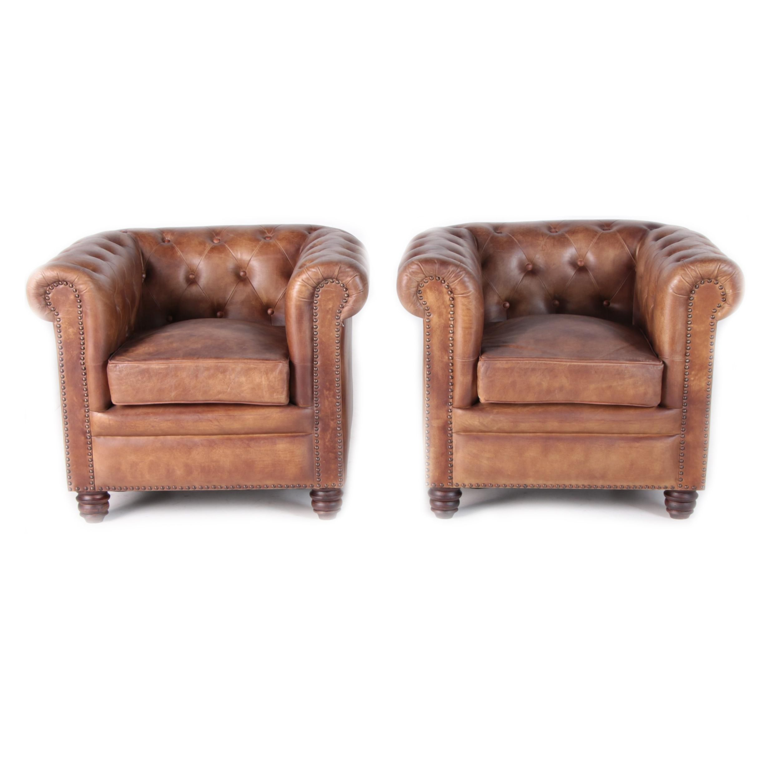 """Norwood"" Button Tufted Leather Club Chairs, 21st Century"