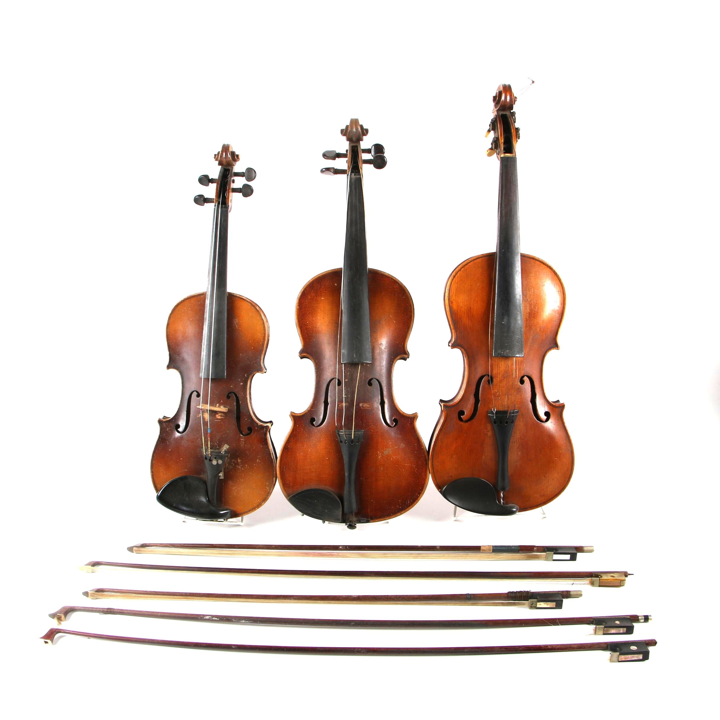 Steiner 4/4 Violins and German 1/2 Violin with Assortment of Bows