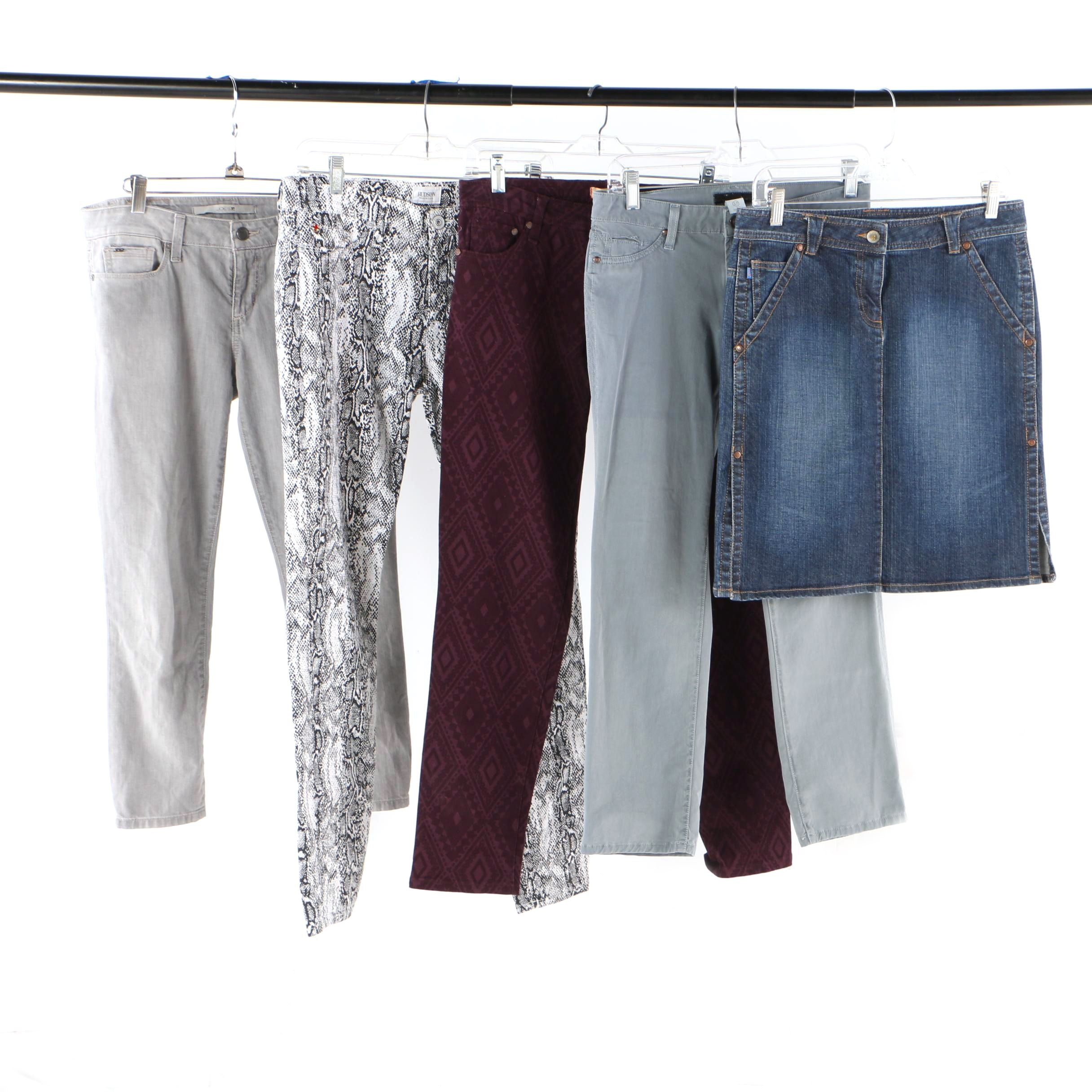 Designer Pants with Joe's, Hudson, Sanctuary, Tag Elements and Fcuk Denim Skirt
