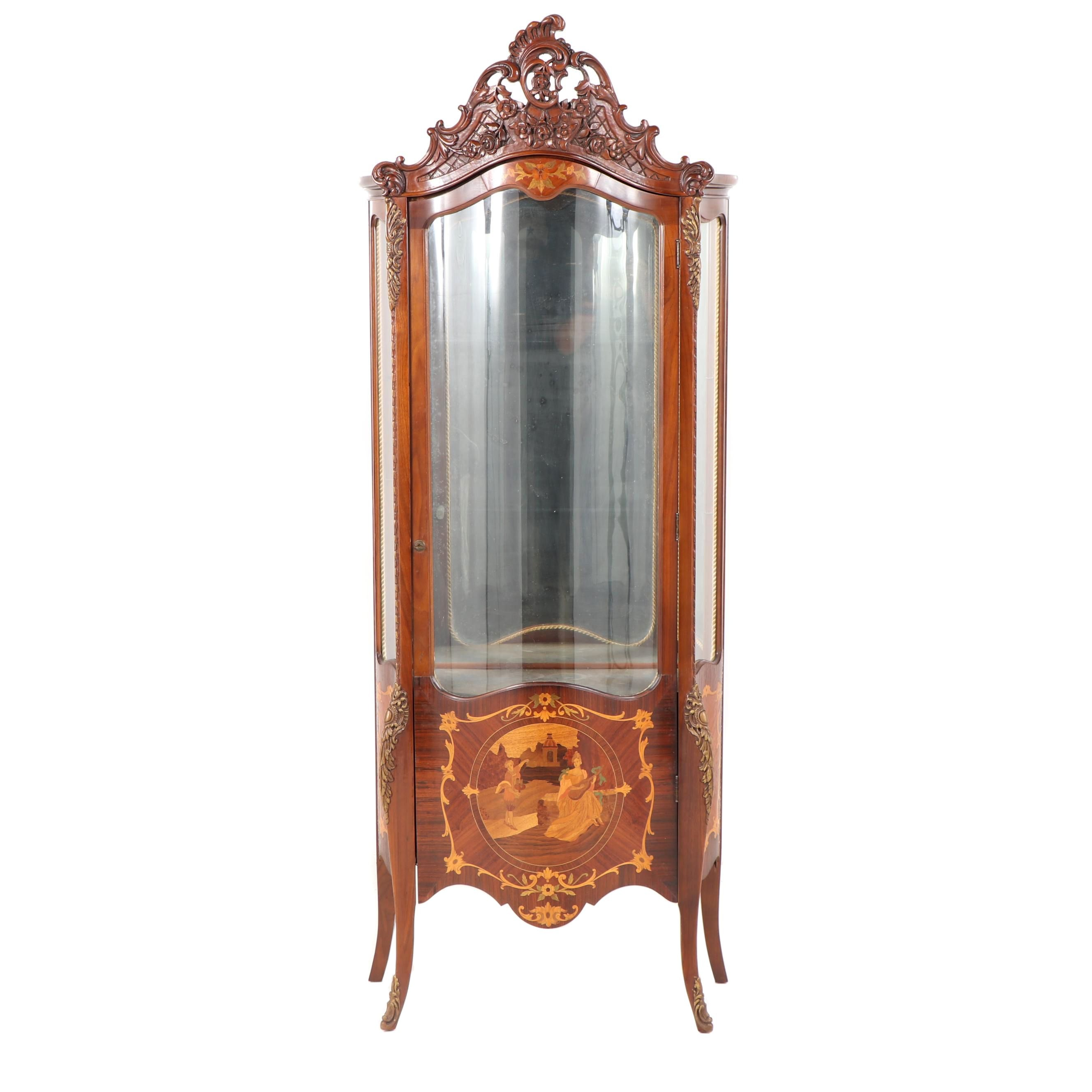 Louis XV Style Walnut Illuminated Vitrine with Marquetry Inlay, Early 20th C.