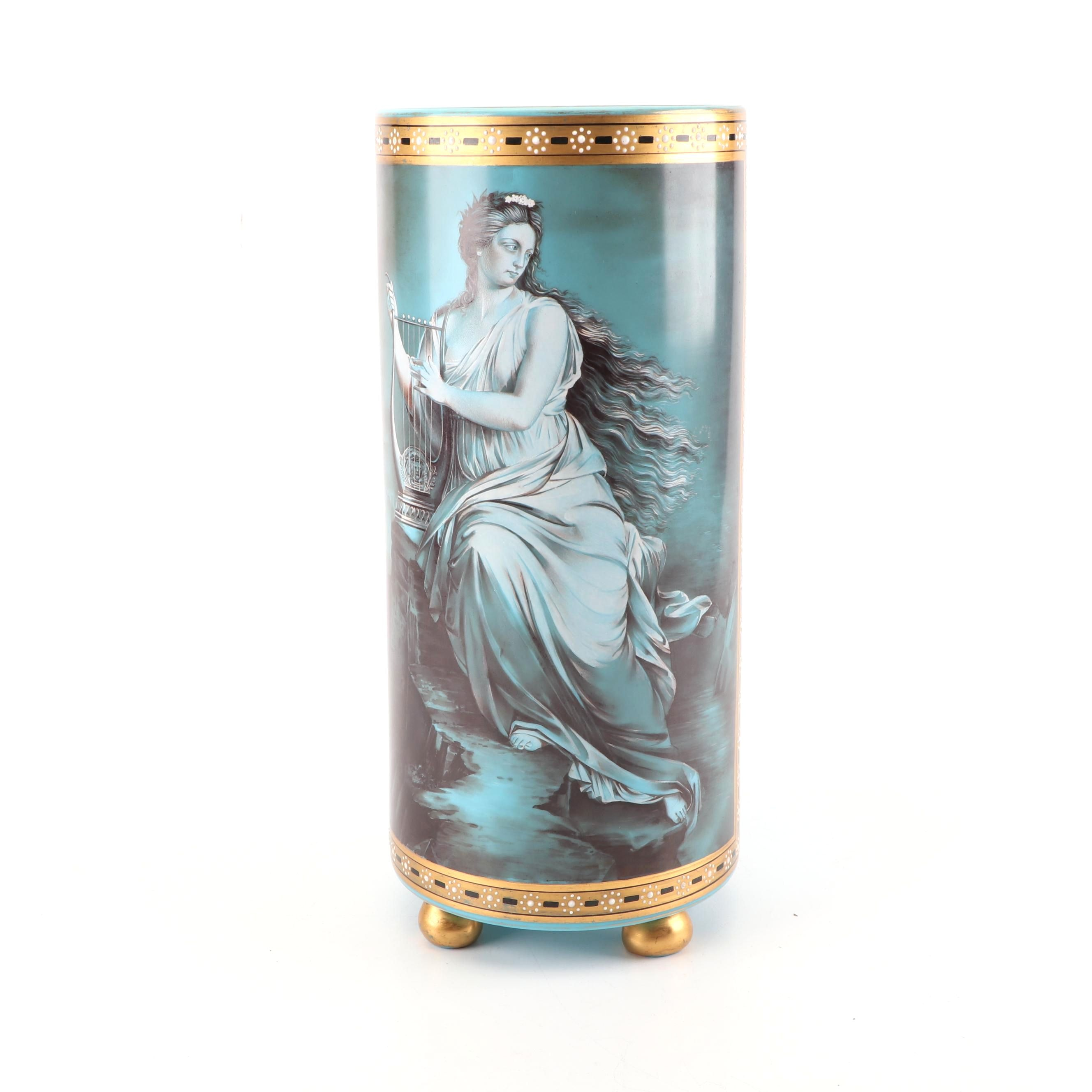 French Style Hand-Painted Blue Opaline Glass Vase