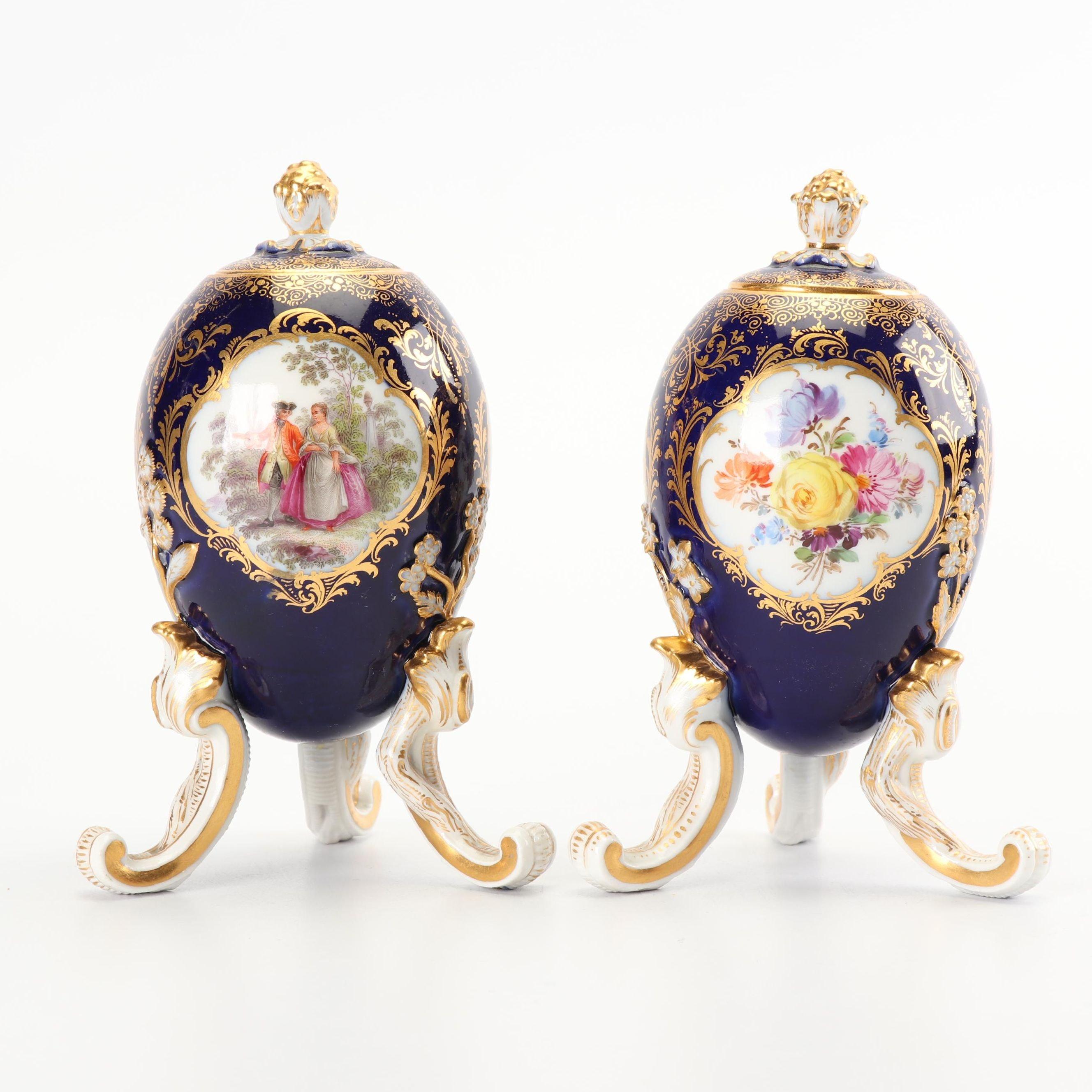 Meissen Porcelain Lidded Jars, Late 19th Century