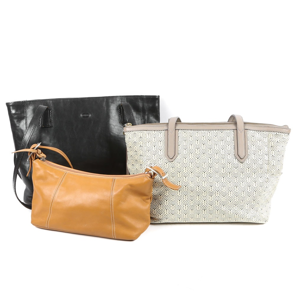 Tornabuoni and Fossil Leather Tote Bags and Tignanello Leather Shoulder Bag