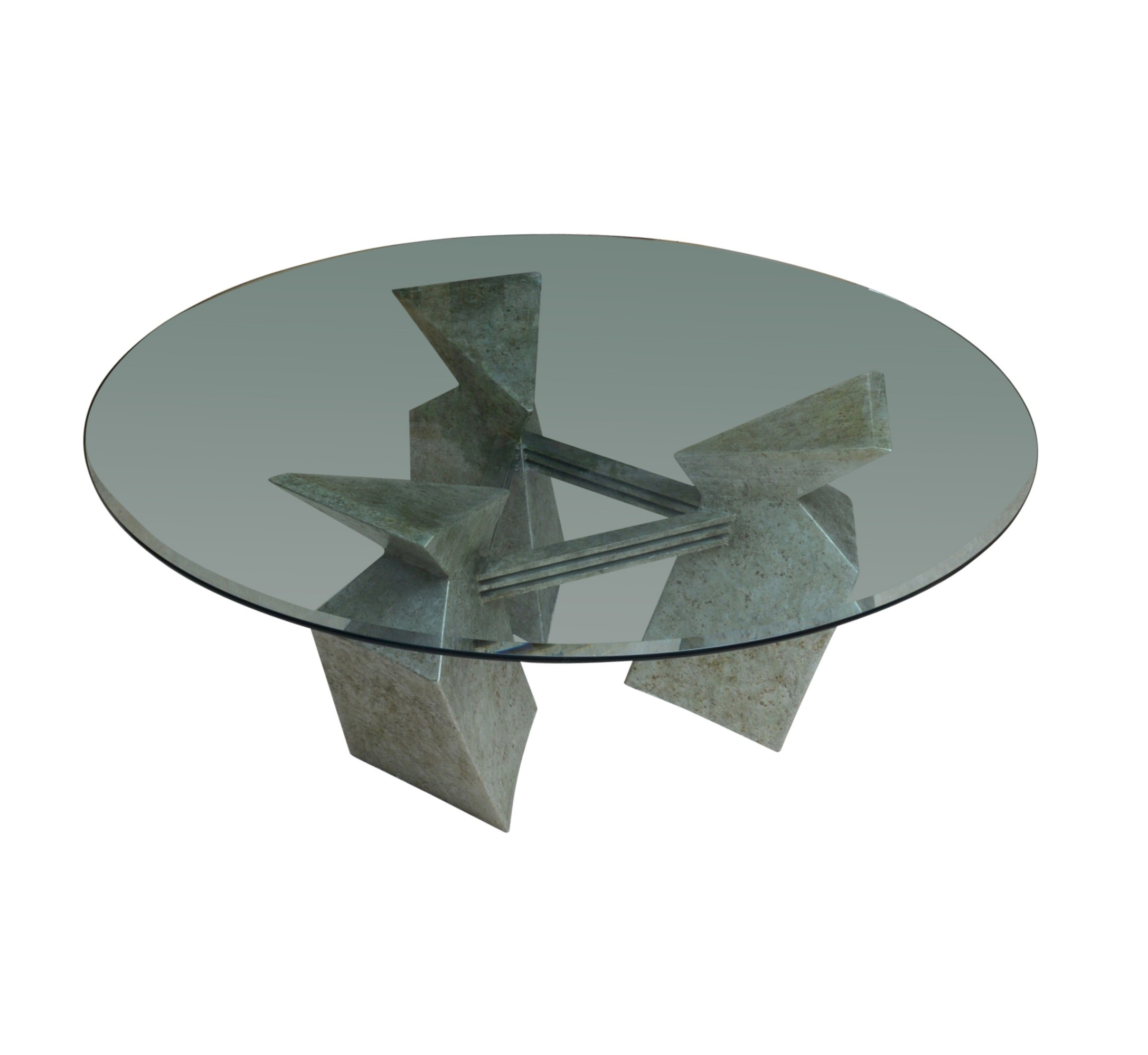 Detroit Steel Artisan Dining Table with Beveled Glass Top
