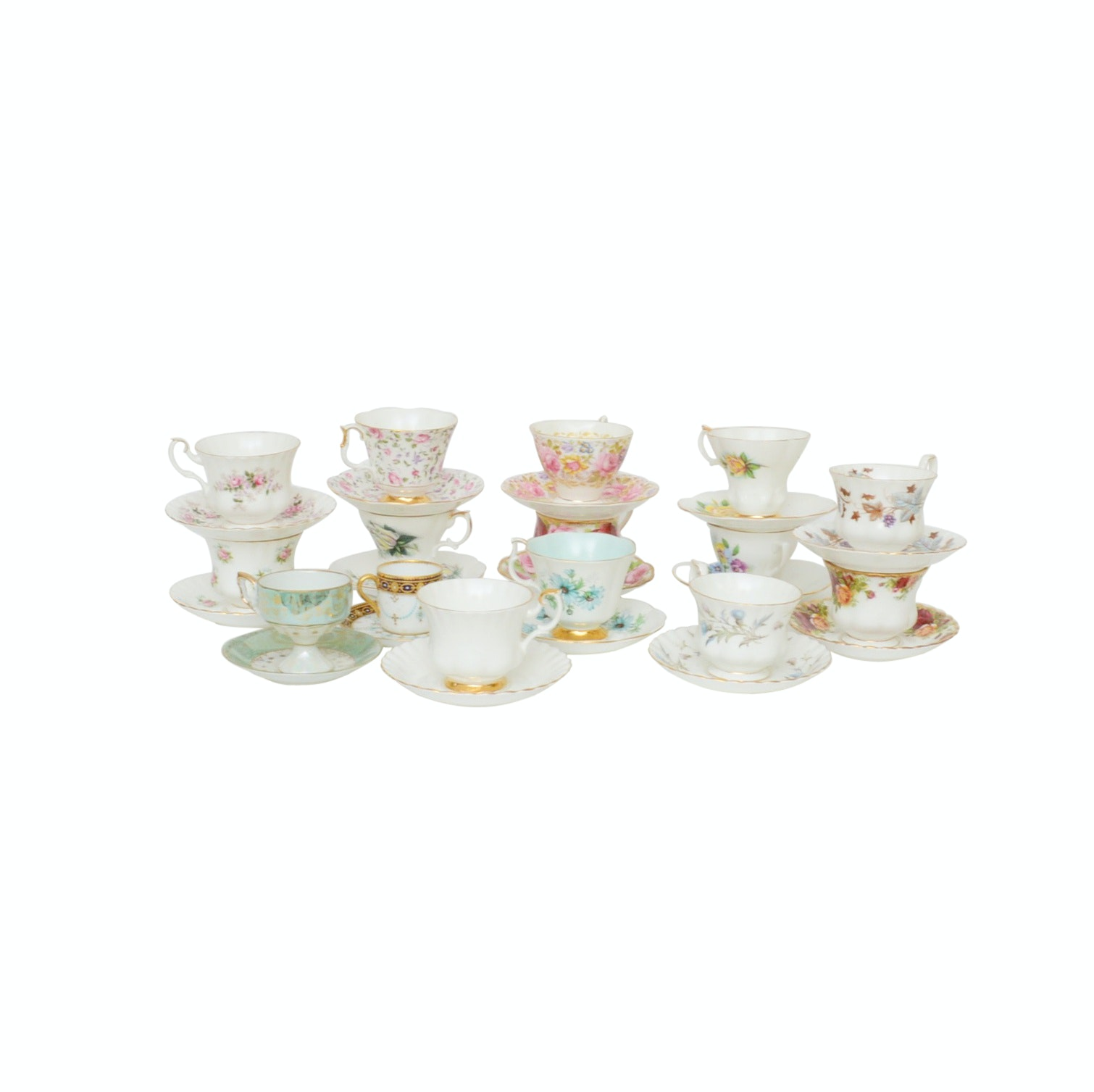 "Mixed Fine China Teacups and Saucers Including Copeland's ""Jewelled Porcelain"""