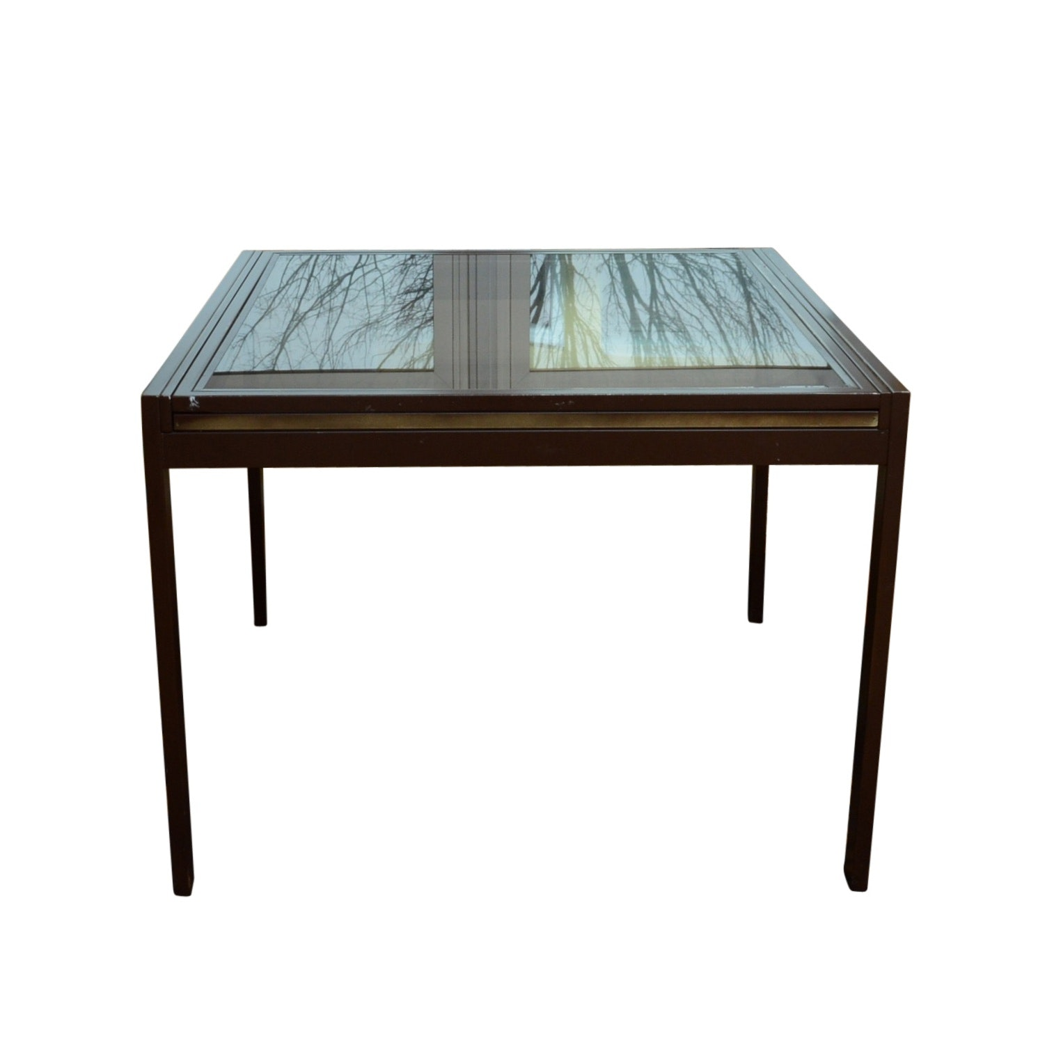 Vintage Glass and Steel Sliding Top Kitchen Table