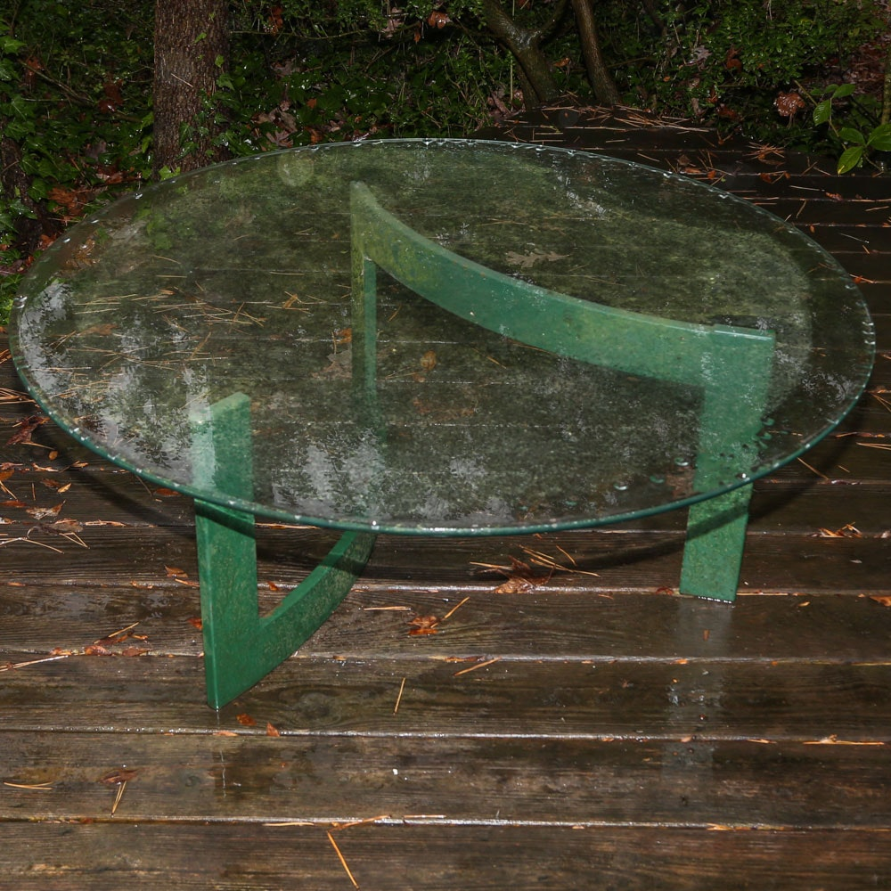 Mid Century Modern Glass Top Painted Metal Patio Table, 20th Century