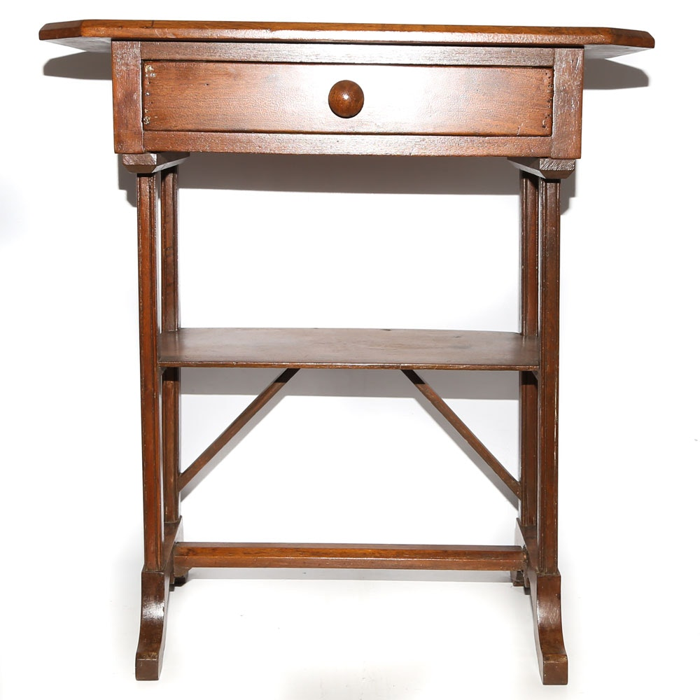 Federal Style Mahogany Stained Wood Side Table, Mid-20th Century