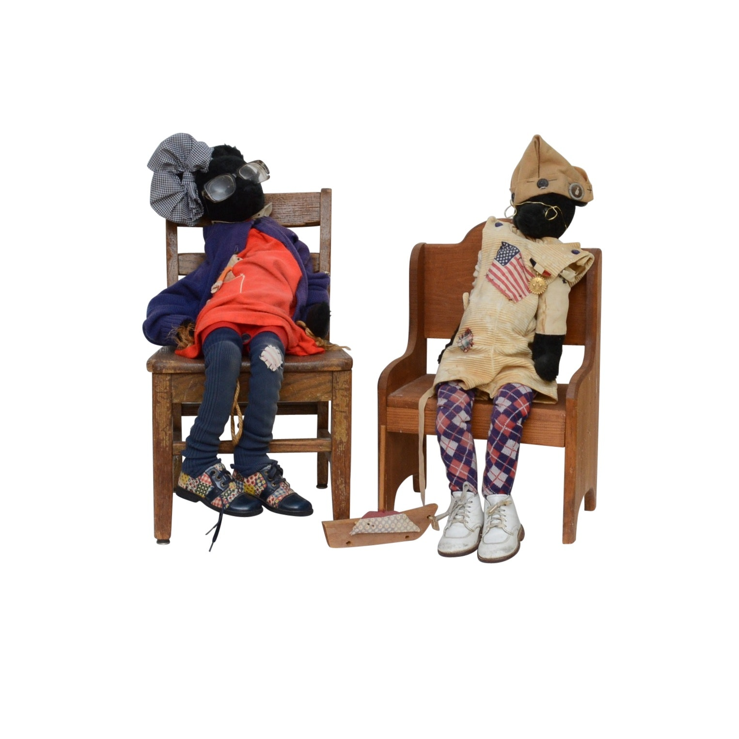 Hand Crafted Bears and Wooden Chairs