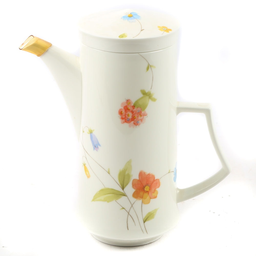"Mikasa ""Just Flowers"" Bone China Coffee Pot"
