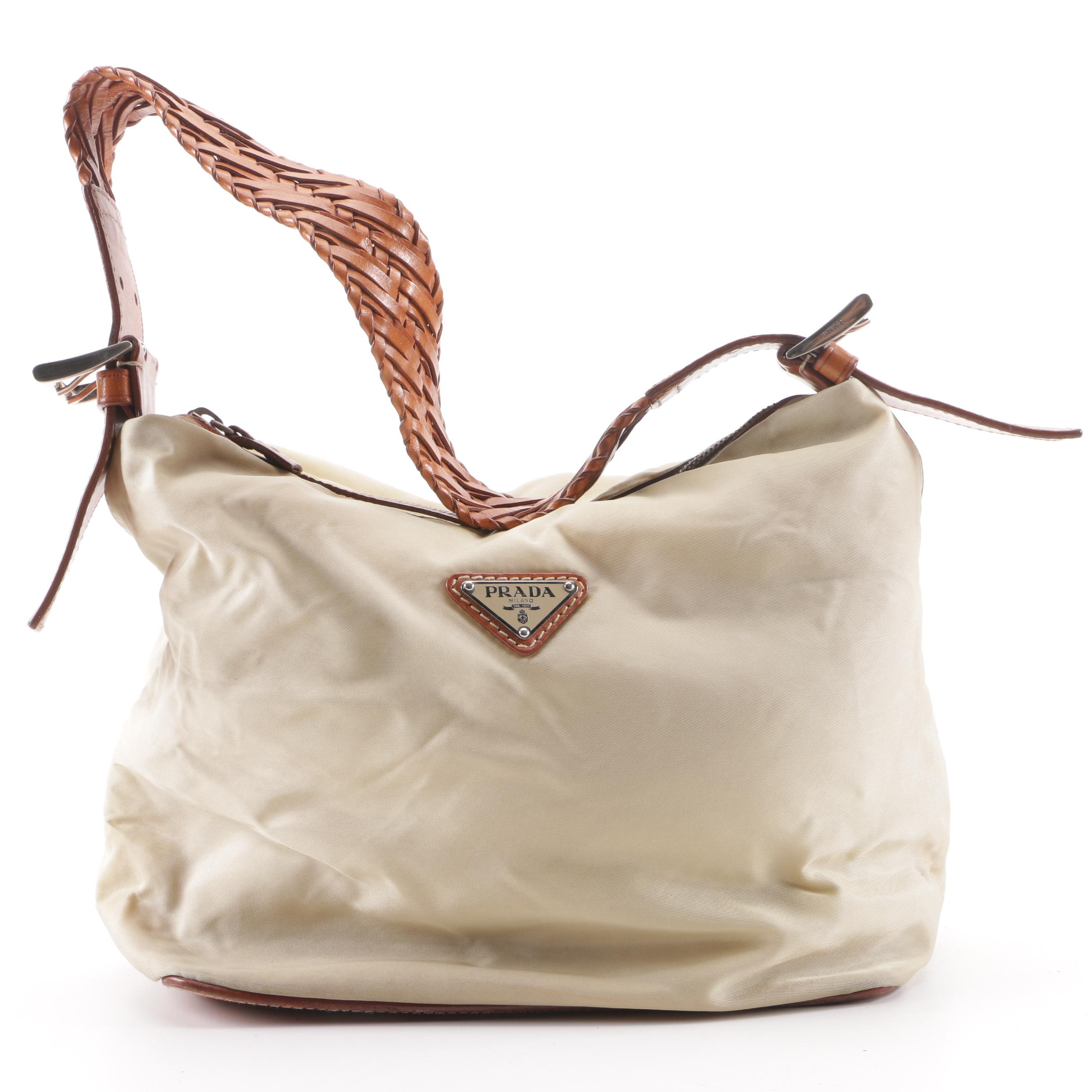 7d2f587816fd ... authentic prada beige nylon and woven leather shoulder bag ebth 4aa2f  7f5e1