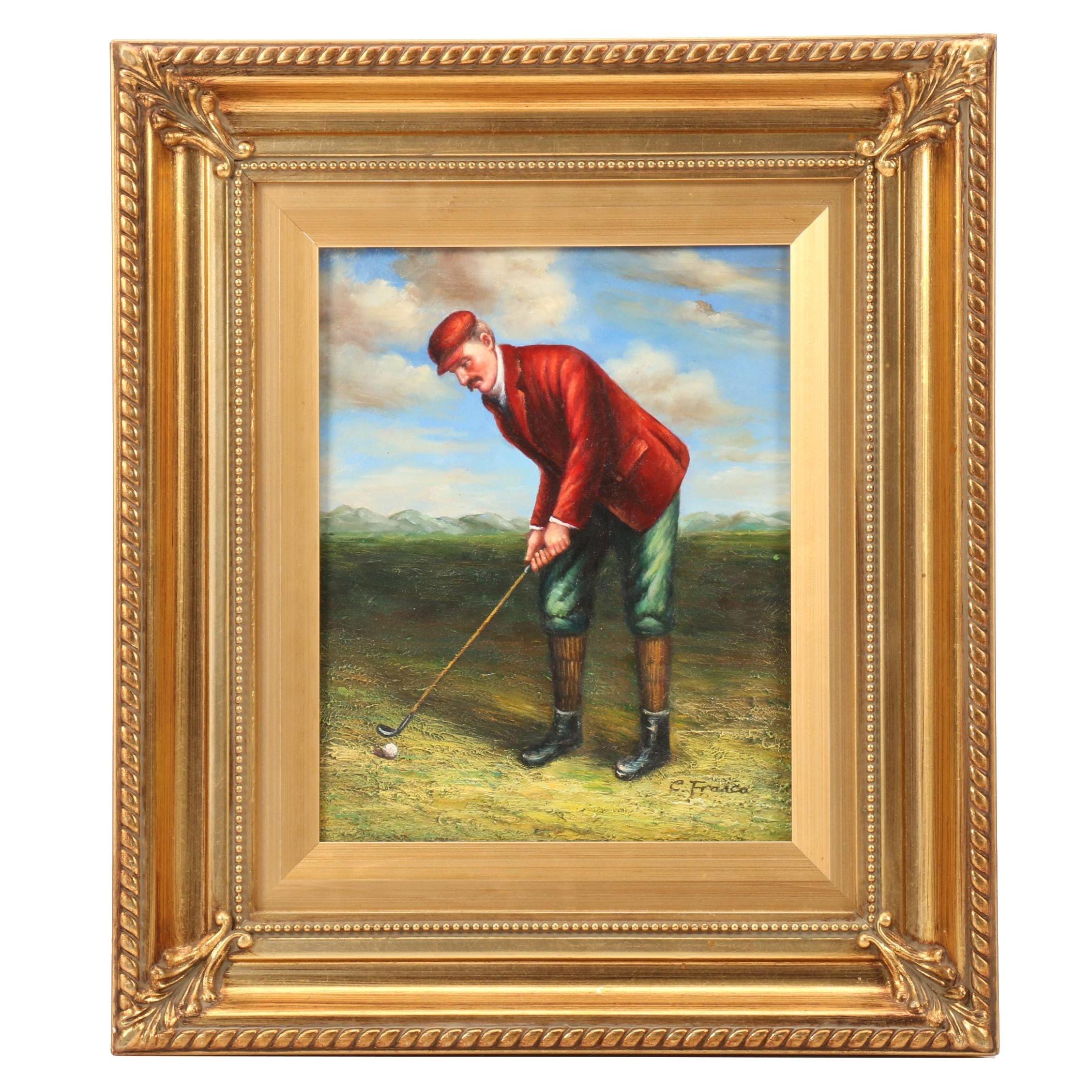 Oil Painting of Victorian Era Golfer