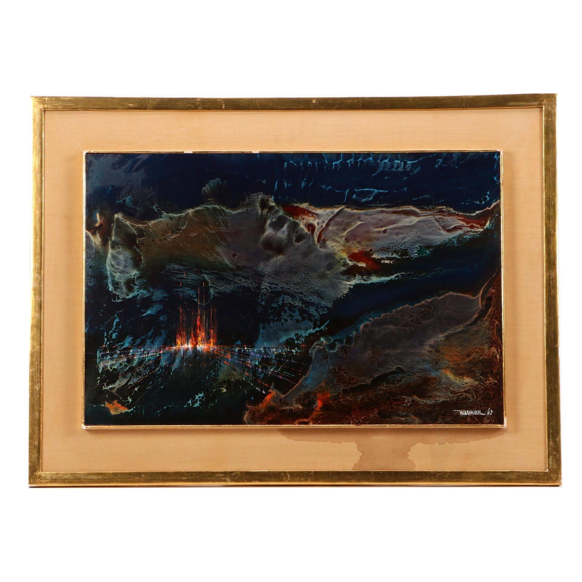 Leonardo Nierman 1963 Abstract Expressionist Oil Painting