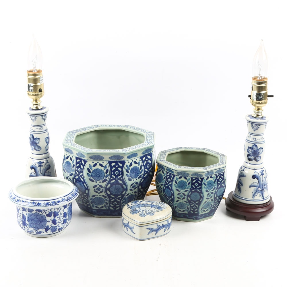 Chinese Porcelain Lamps, Planters, and Trinket Box
