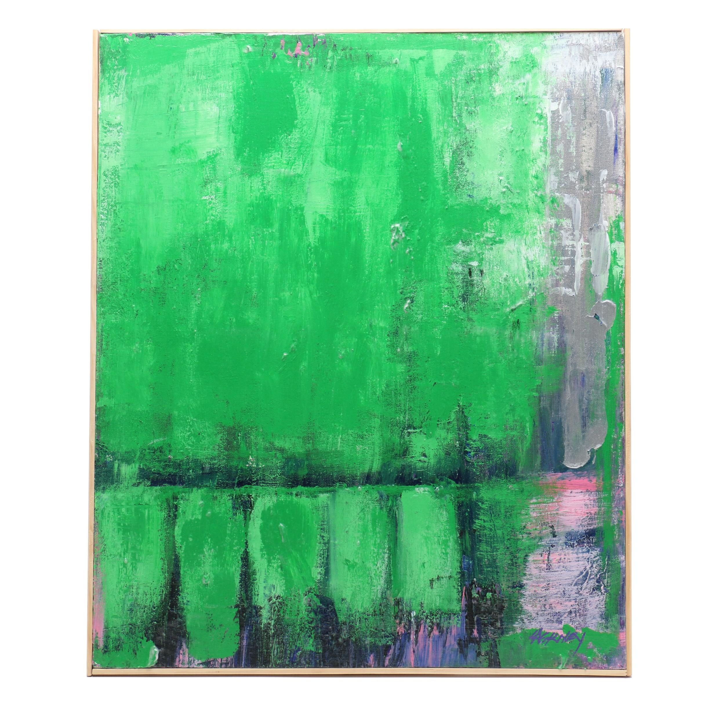 "Robert Lackney Acrylic Painting ""Forest Green"""