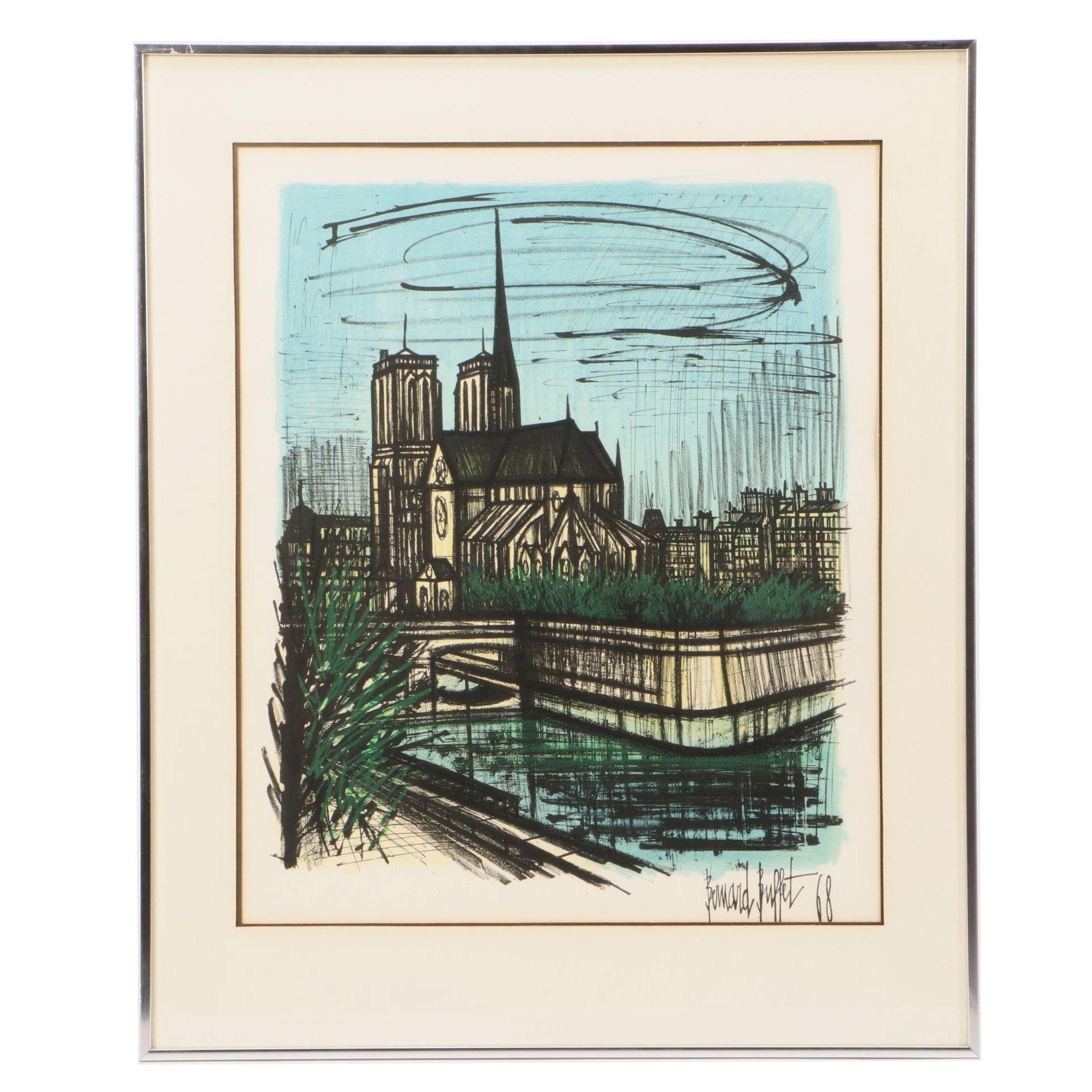 """Bernard Buffet 1968 Color Lithograph """"Notre Dame de Paris"""""""