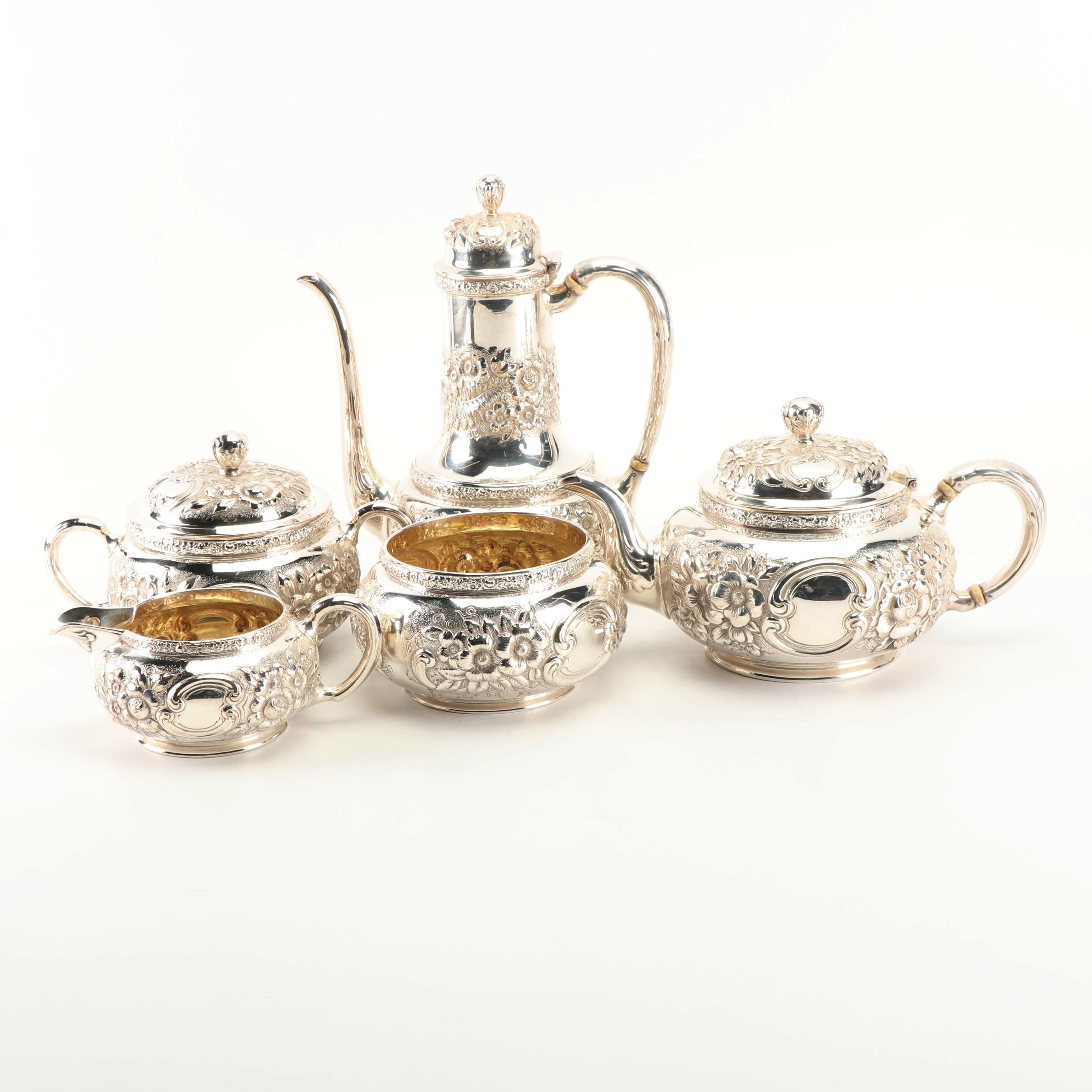 Tiffany & Co. Silver Plate Floral Repoussé Tea and Coffee Service Set