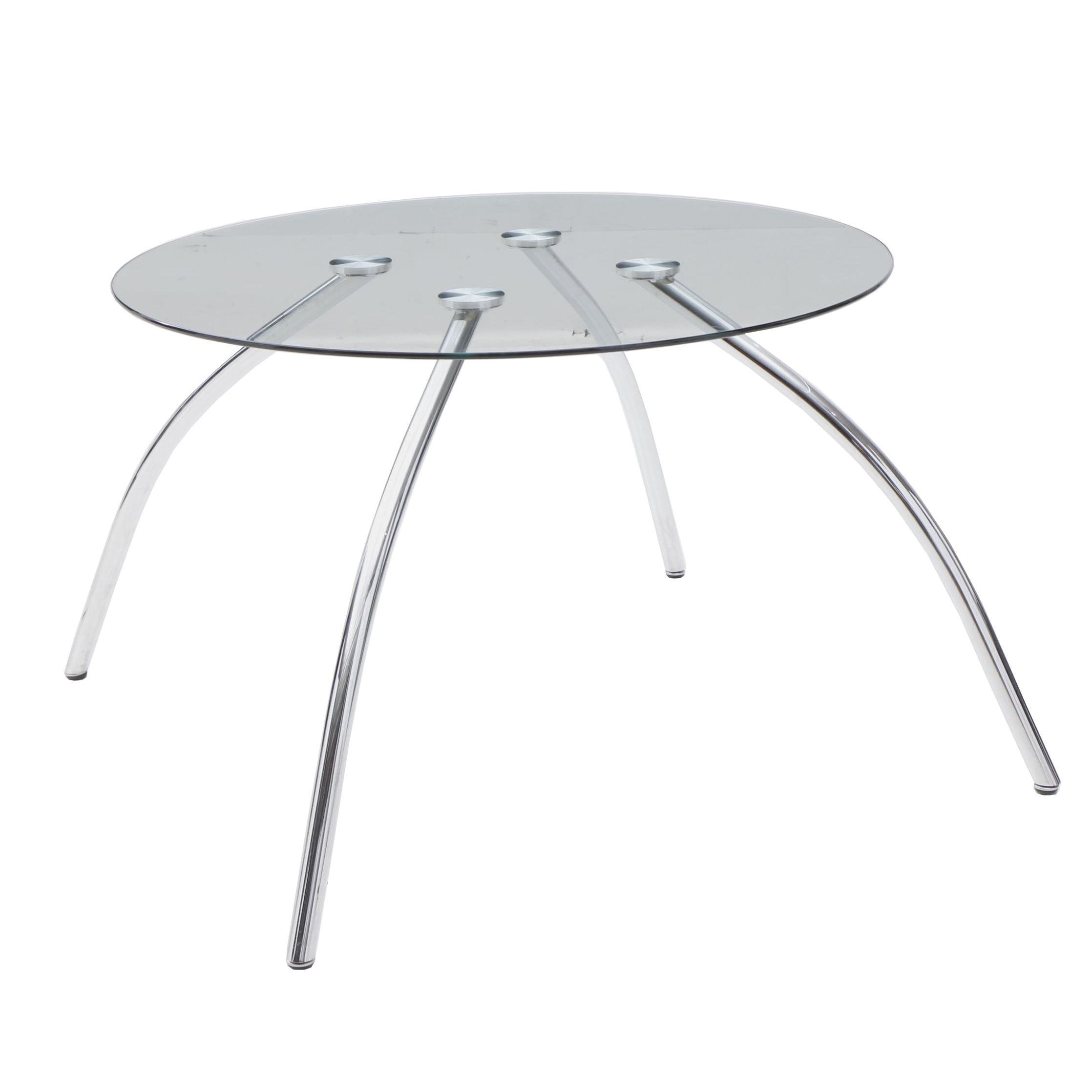 Modern Style Chrome and Glass Dining Table