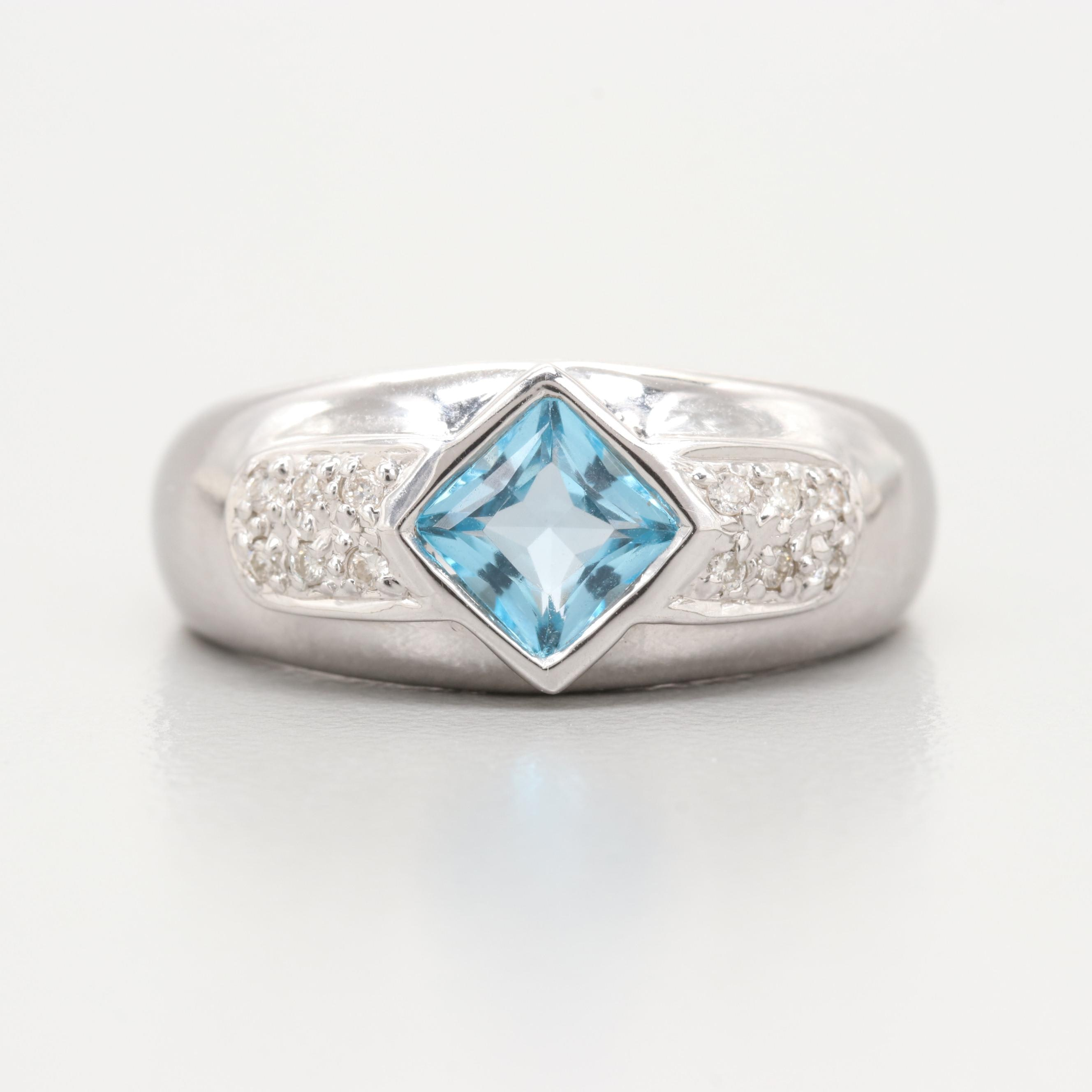 18K White Gold Blue Topaz and Diamond Ring