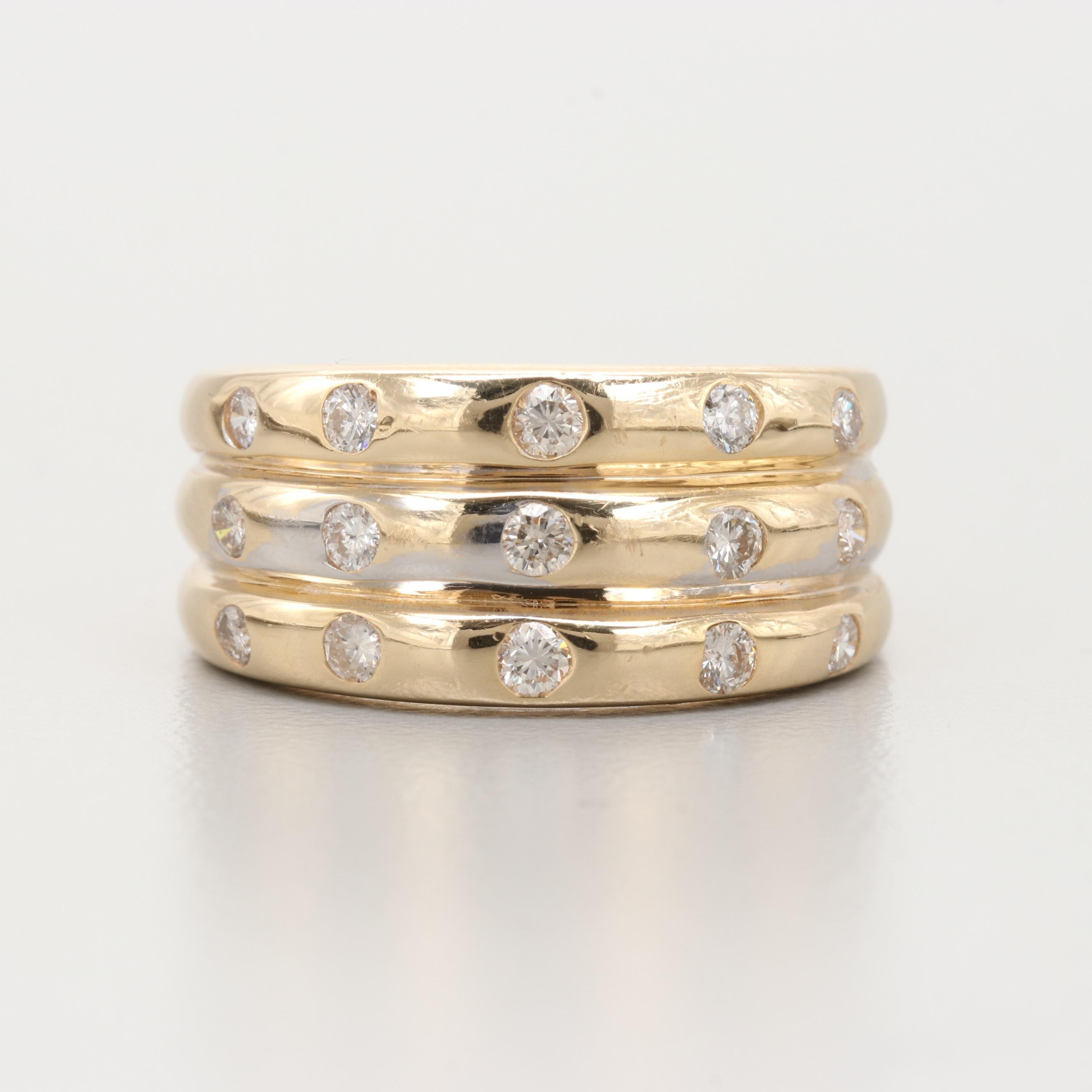 14K Yellow Gold Triple Band Diamond Ring