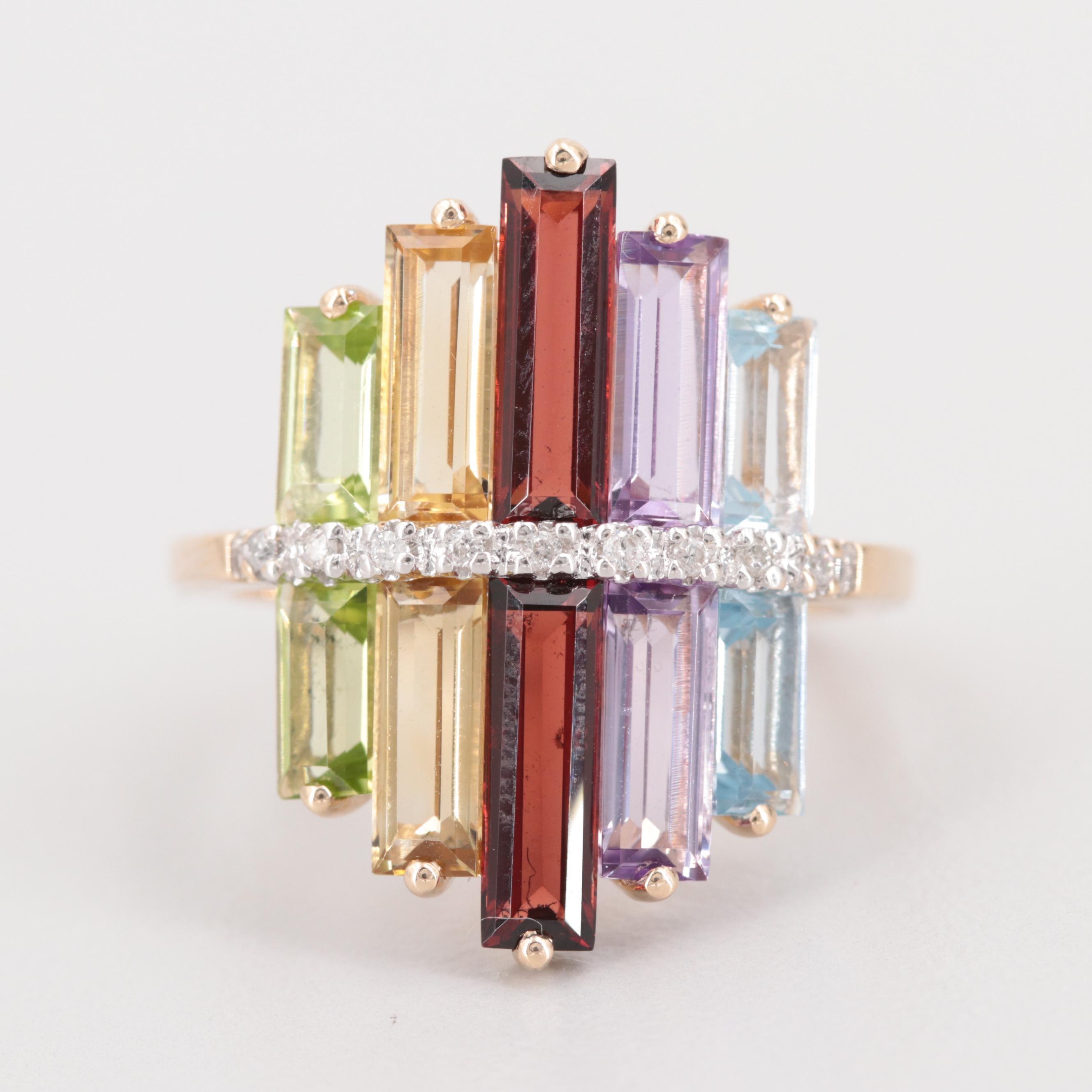 14K Yellow Gold Mixed Gemstone and Diamond Ring