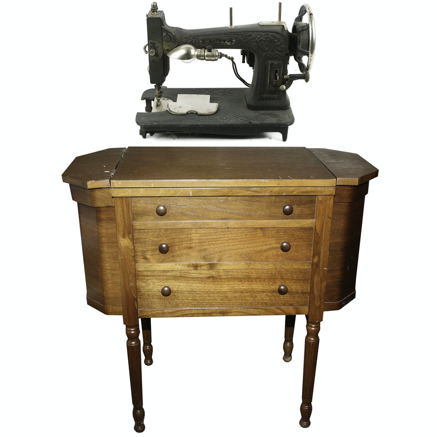 Wood Sewing Table With White Rotary Sewing Machine Circa 40 EBTH Magnificent 1927 White Rotary Sewing Machine