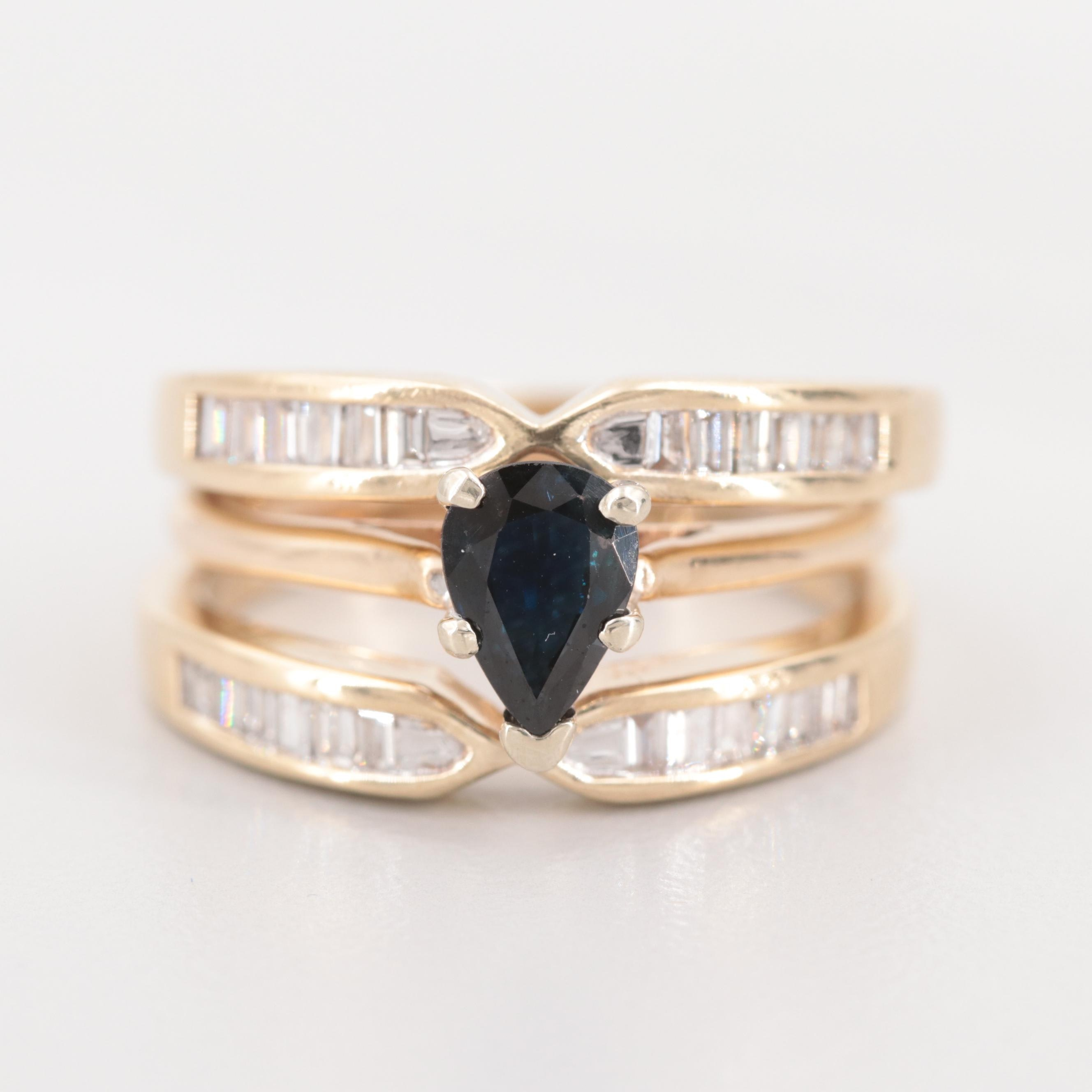 14K Yellow Gold Sapphire and Diamond Triple Ring Set