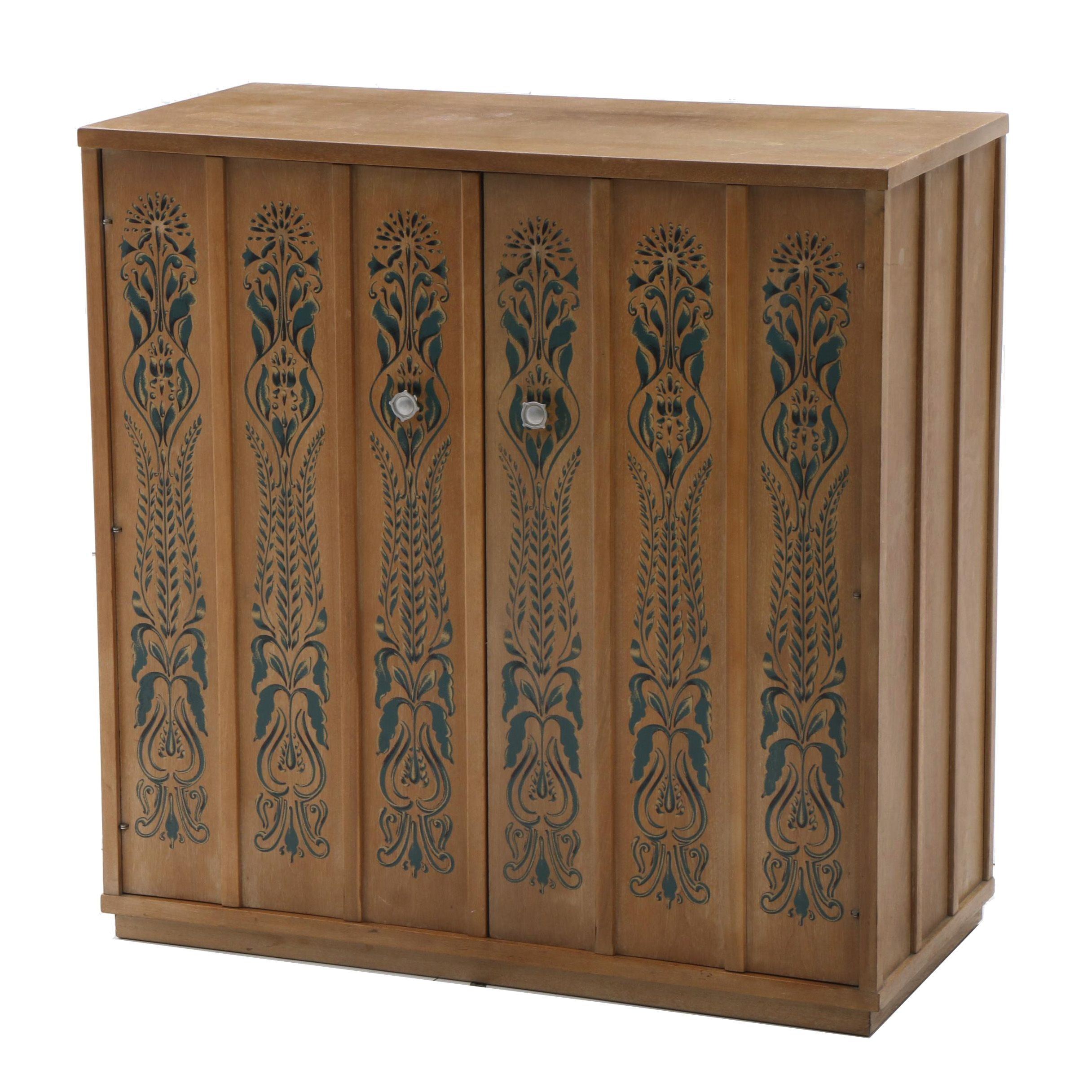 Drexel Stenciled Cabinet by John Van Koert