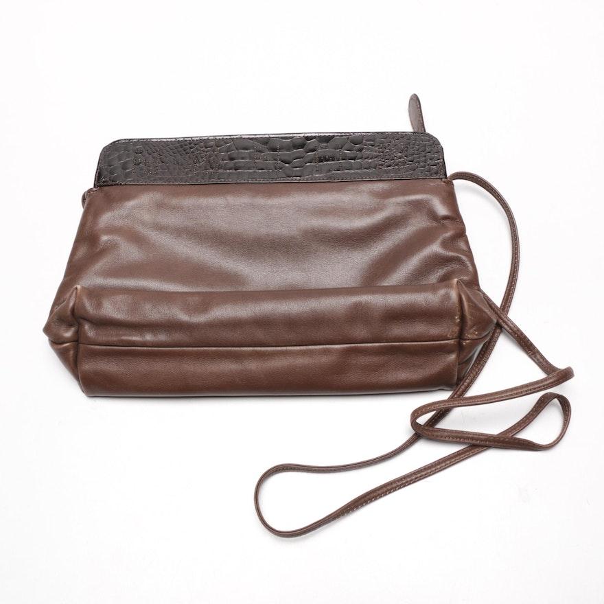 Vintage Fendi Brown Leather Crossbody Bag   EBTH 3fb1391a93