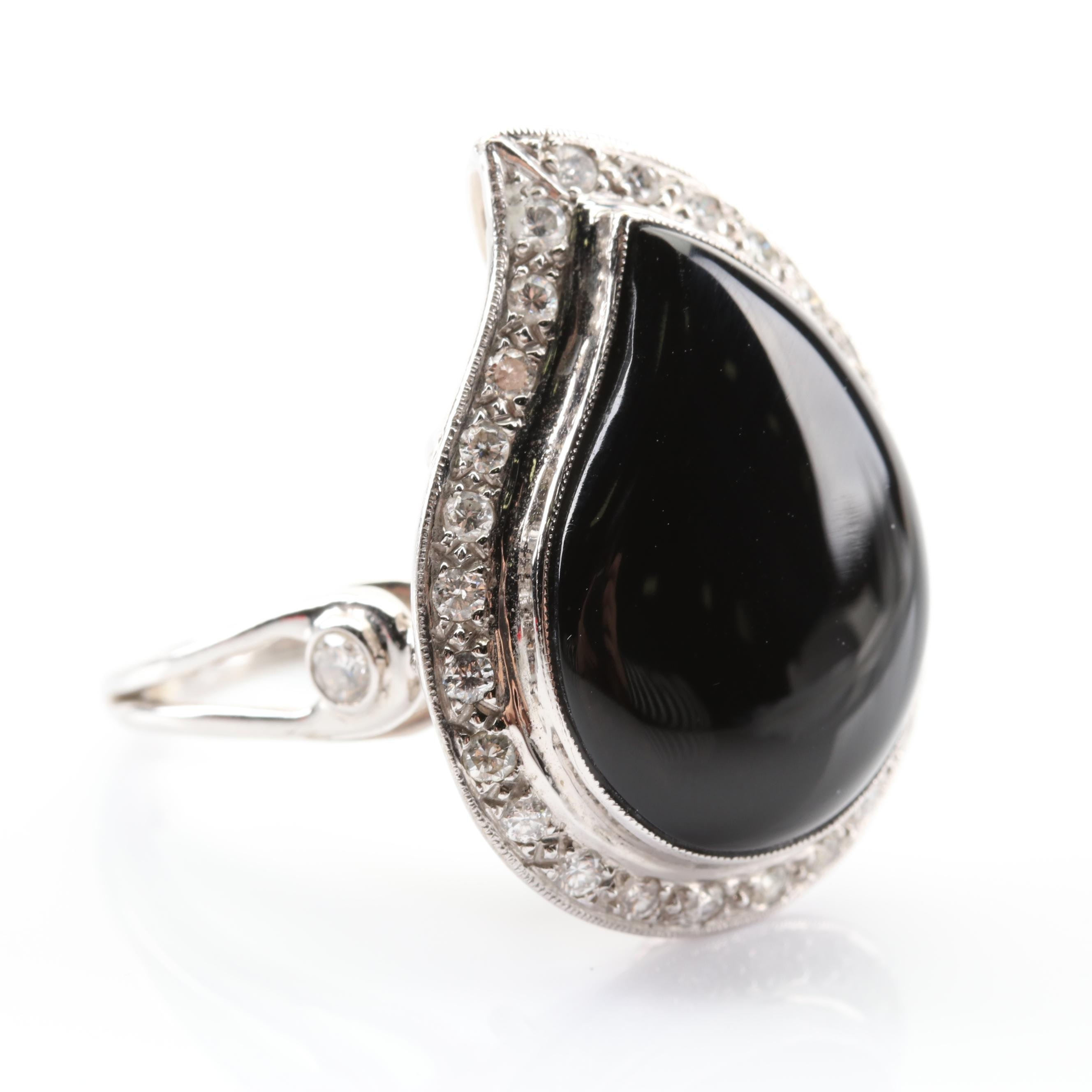 14K White Gold Black Onyx Ring with a Diamond Halo
