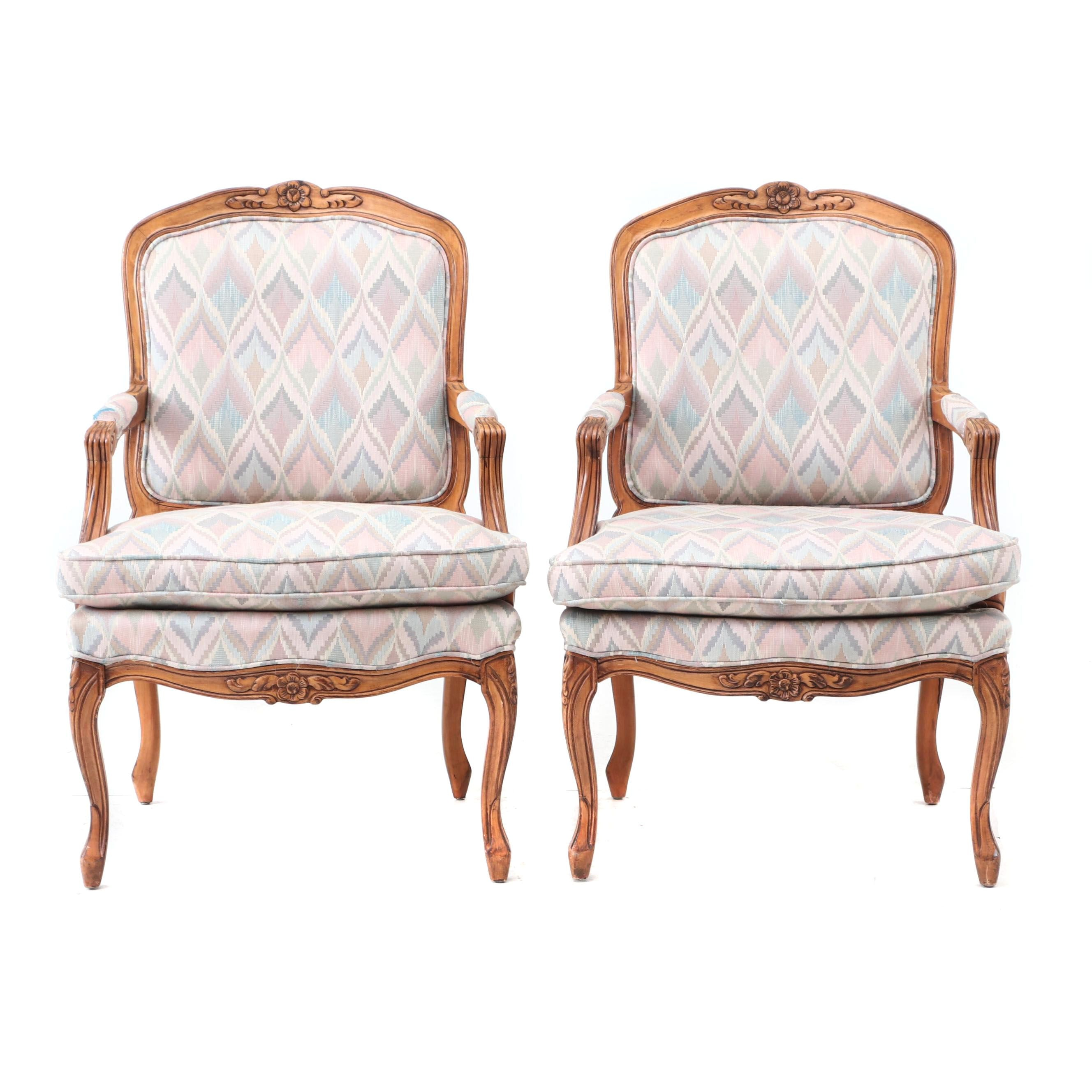 Louis XV Style Upholstered Arm Chairs in Birch
