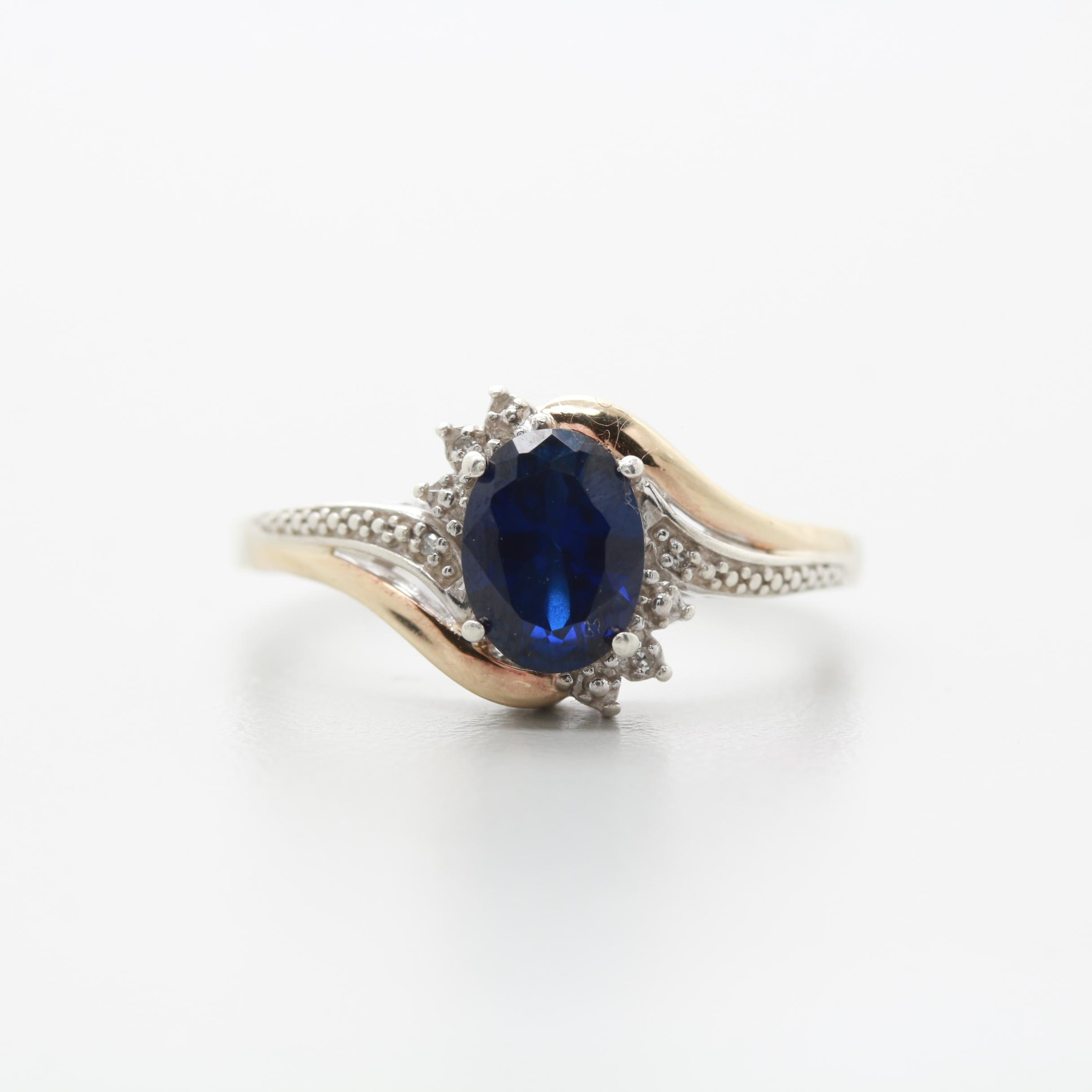 Sterling Silver with 10K Yellow Gold Accents Synthetic Sapphire and Diamond Ring