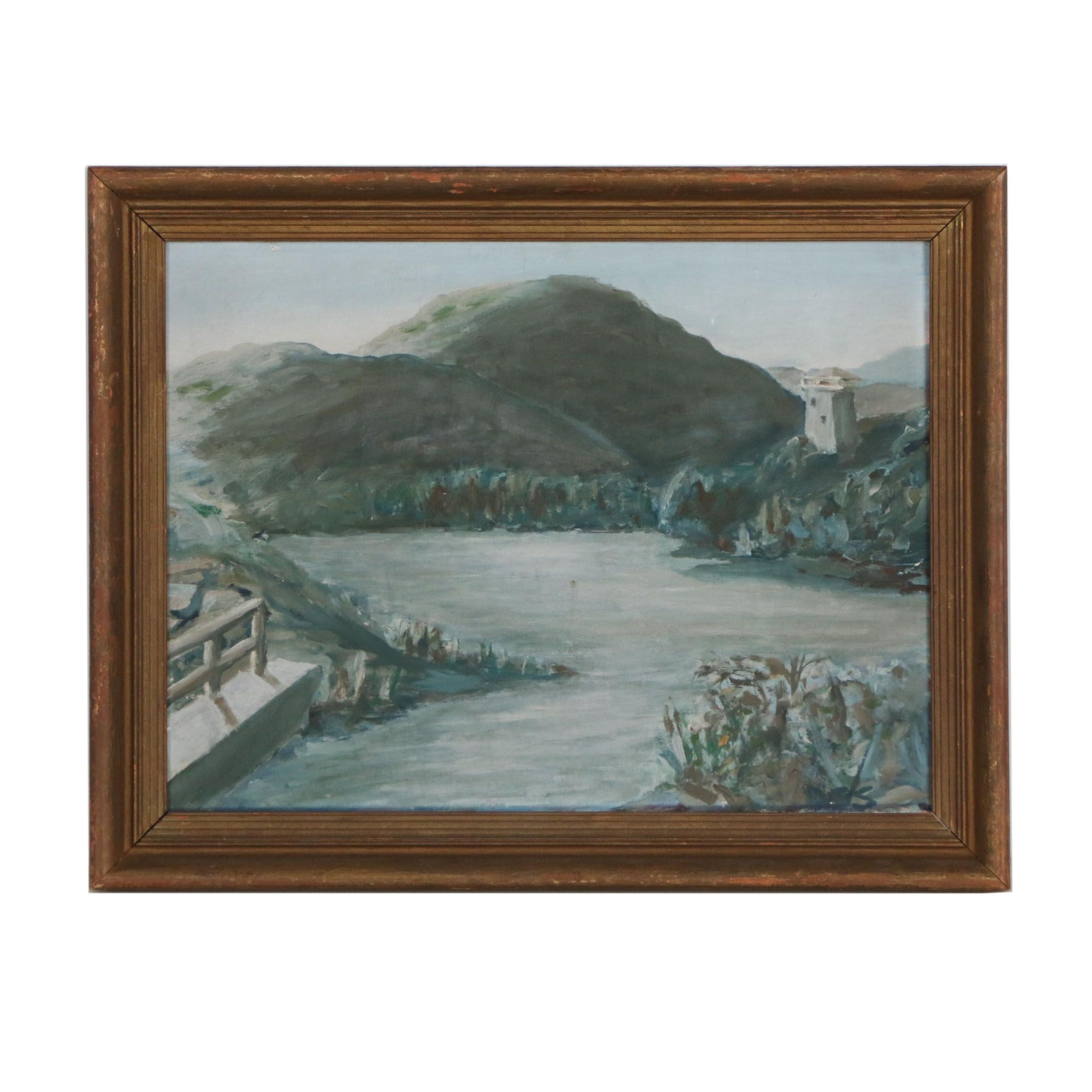 Mid 20th Century Oil Painting of River Landscape