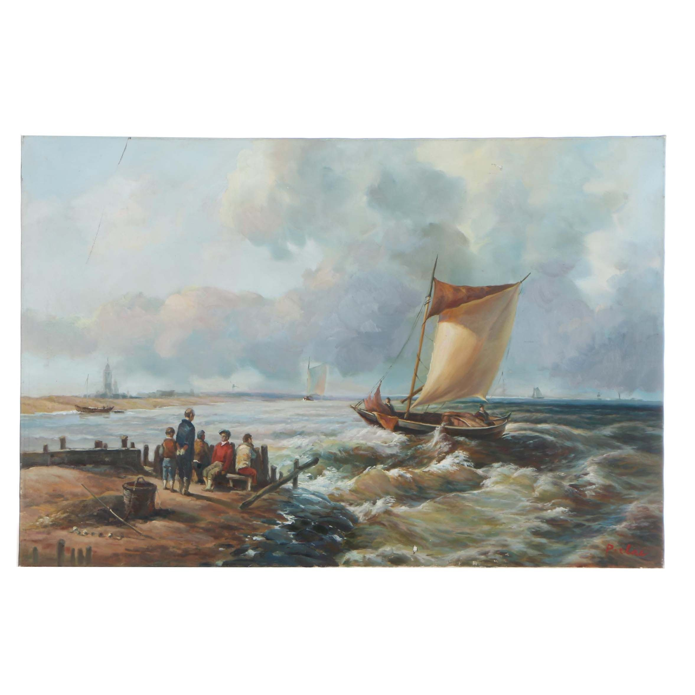 Late 20th Century Oil Painting of Nautical Scene