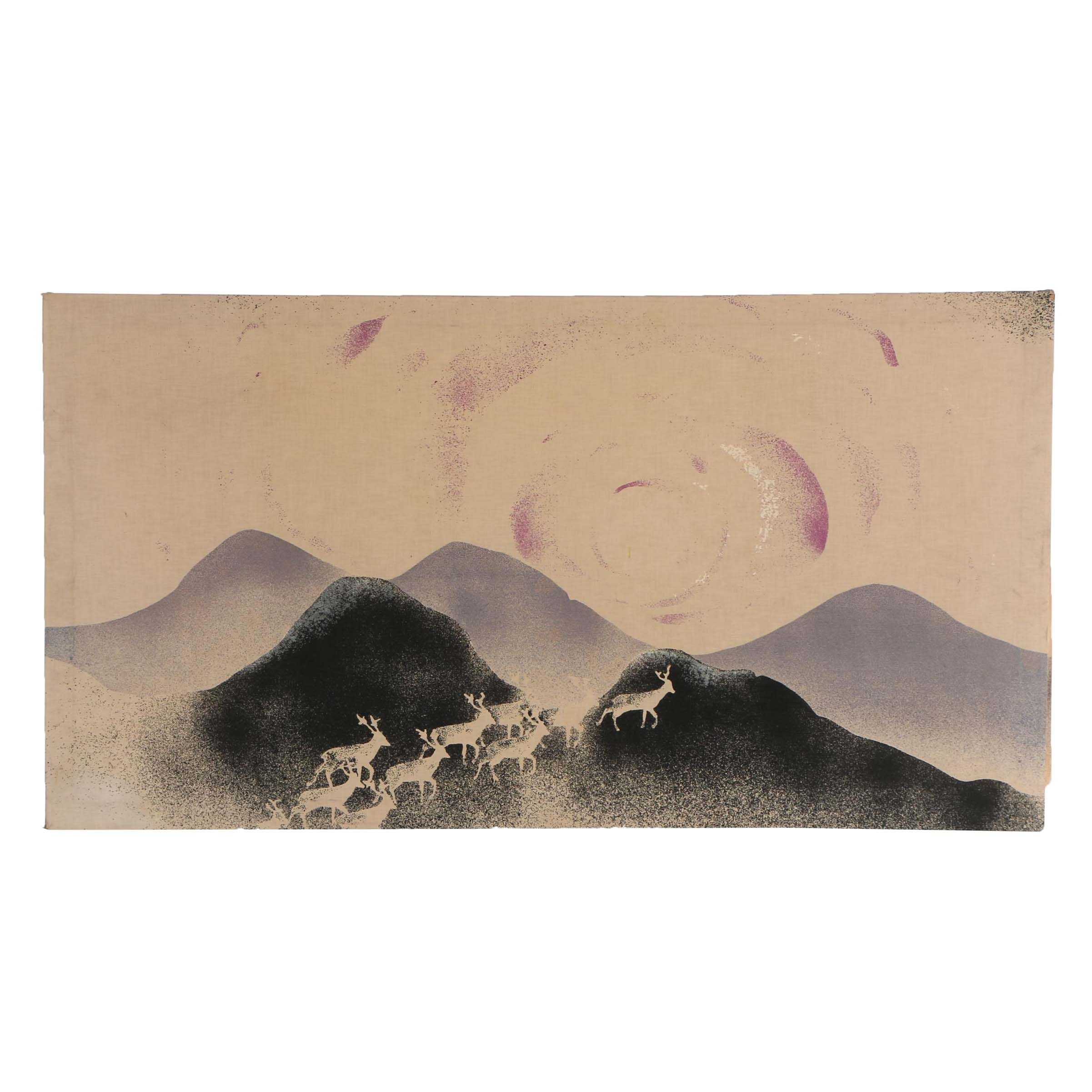 Late 20th Century Printed Landscape on Fabric