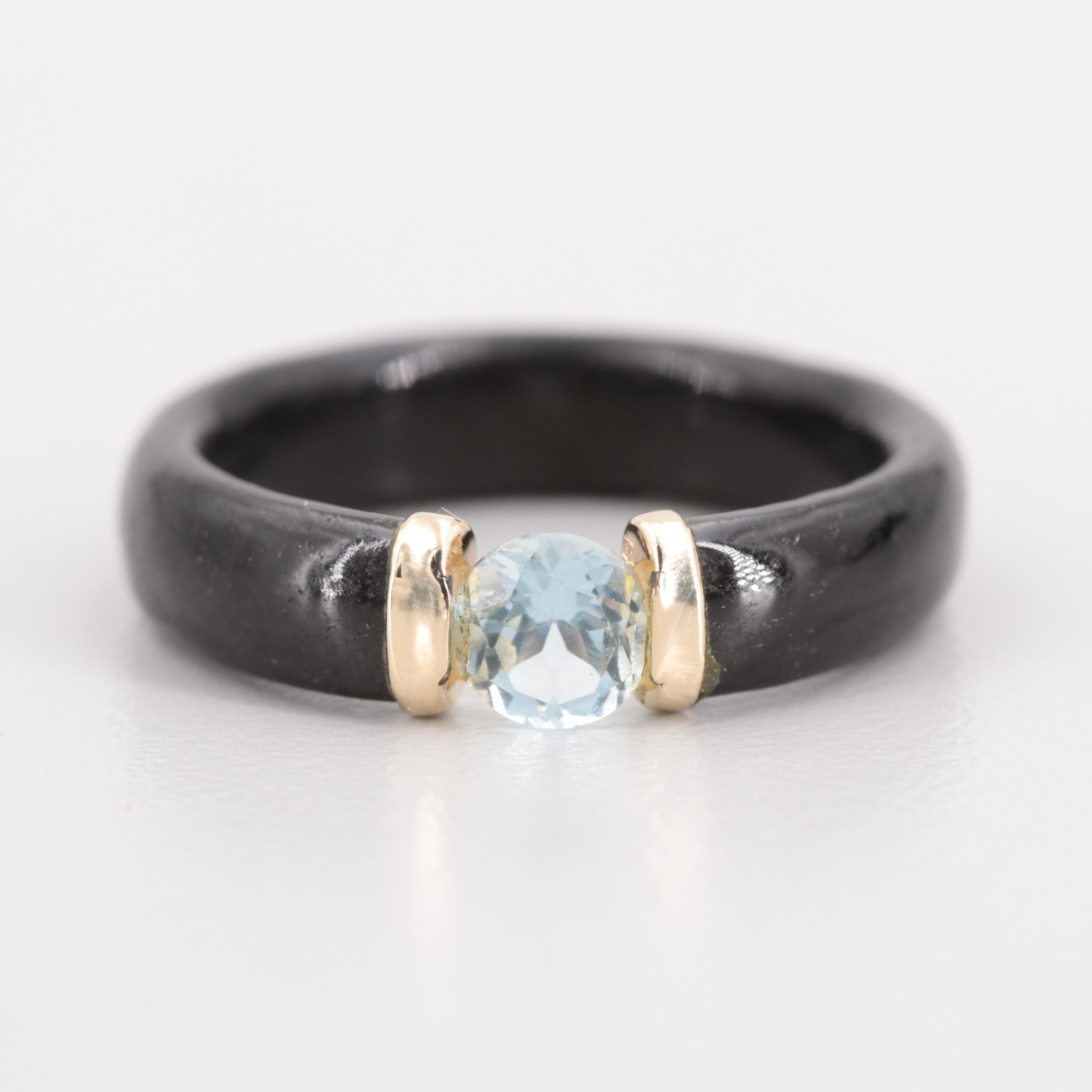 14K Yellow Gold Carved Black Onyx and Topaz Ring