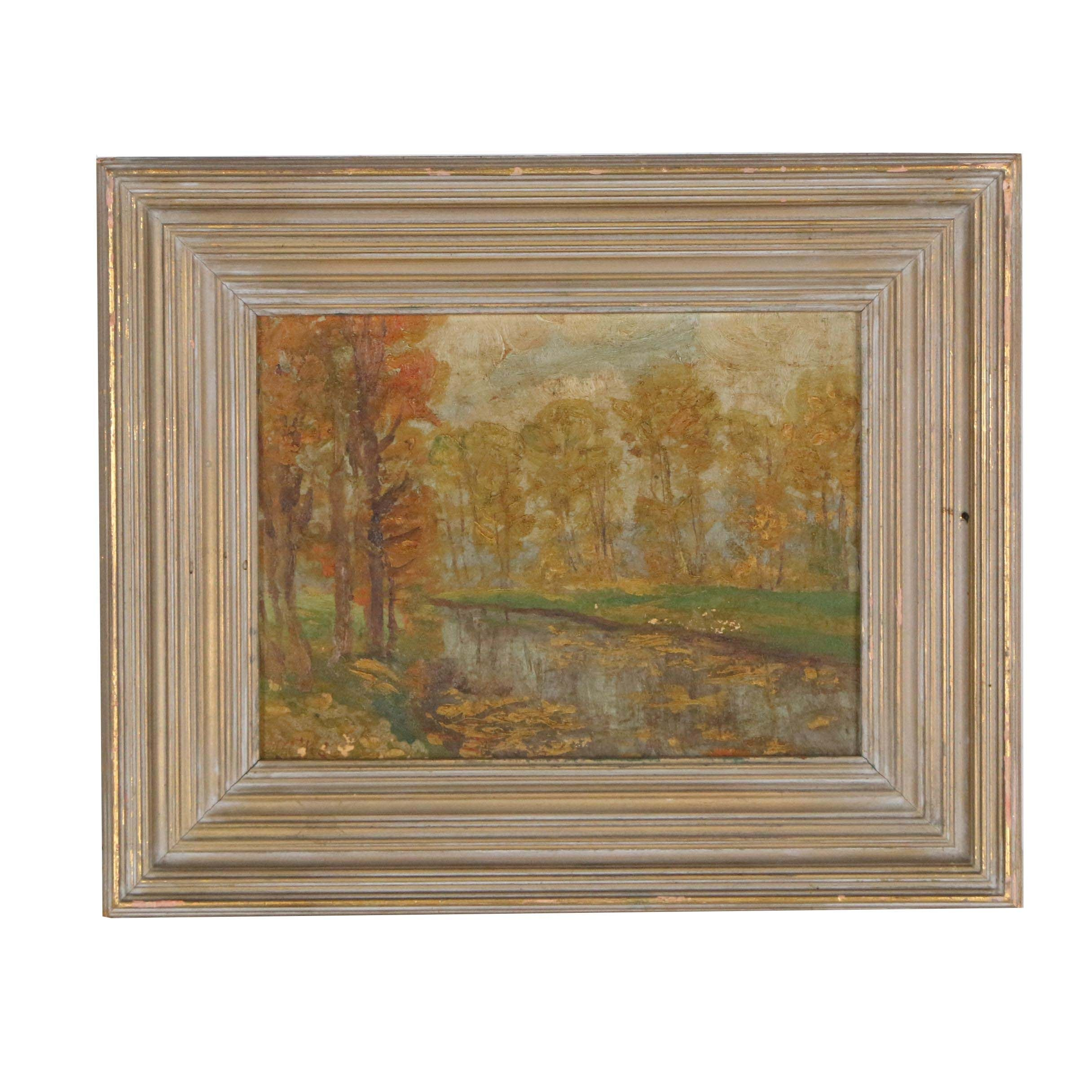 Mid 20th Century Oil Painting of Autumnal Landscape