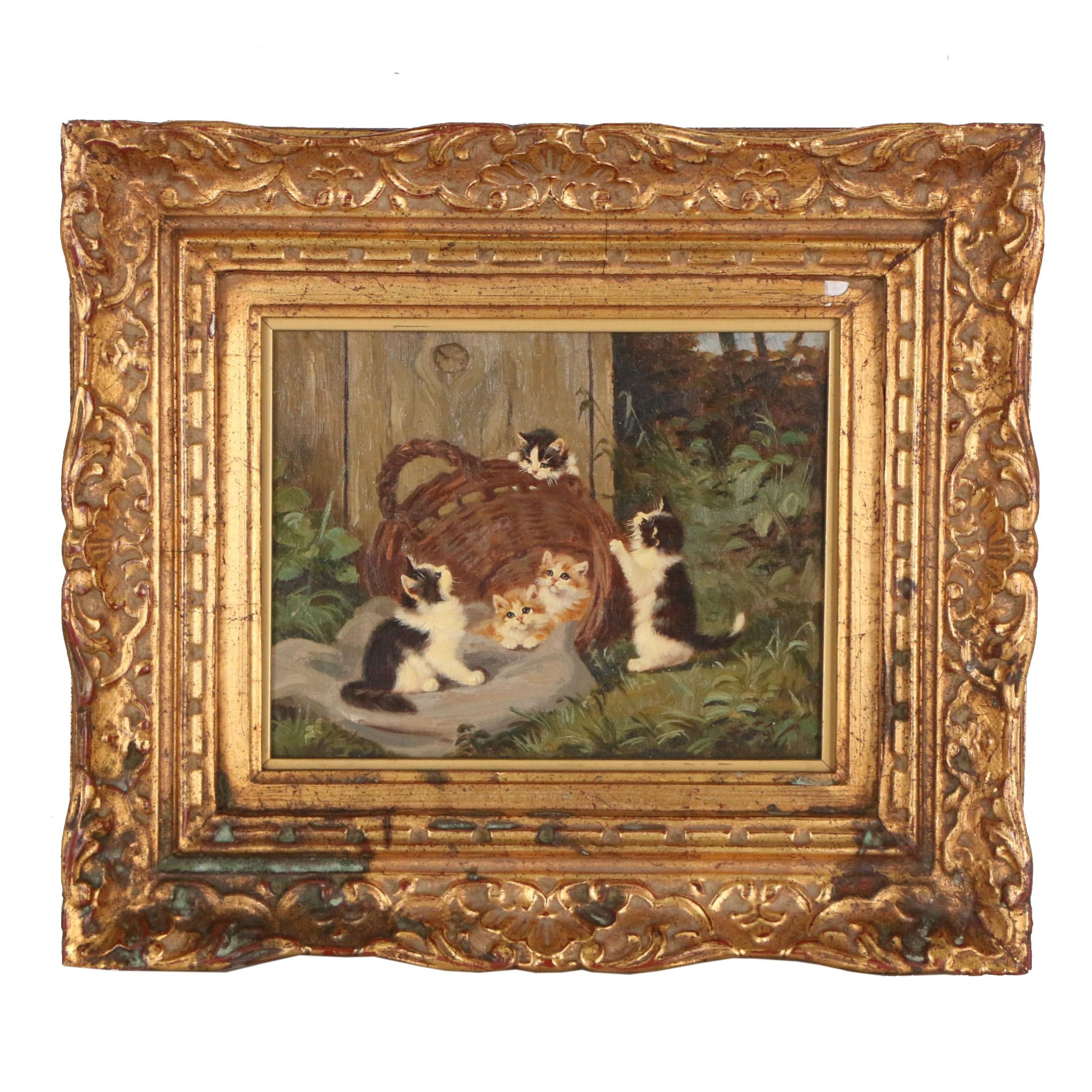 Mid 20th Century Oil Painting of Kittens